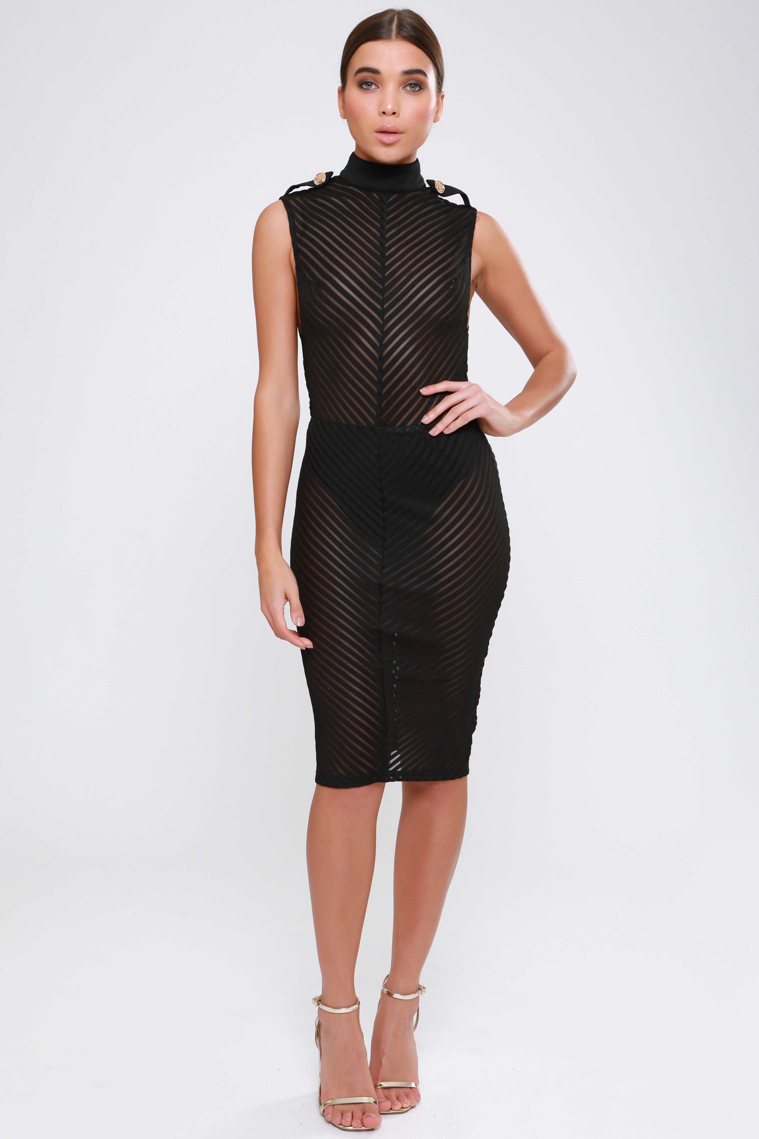 Sheer Striped Mesh  Midi Dress   £59.00