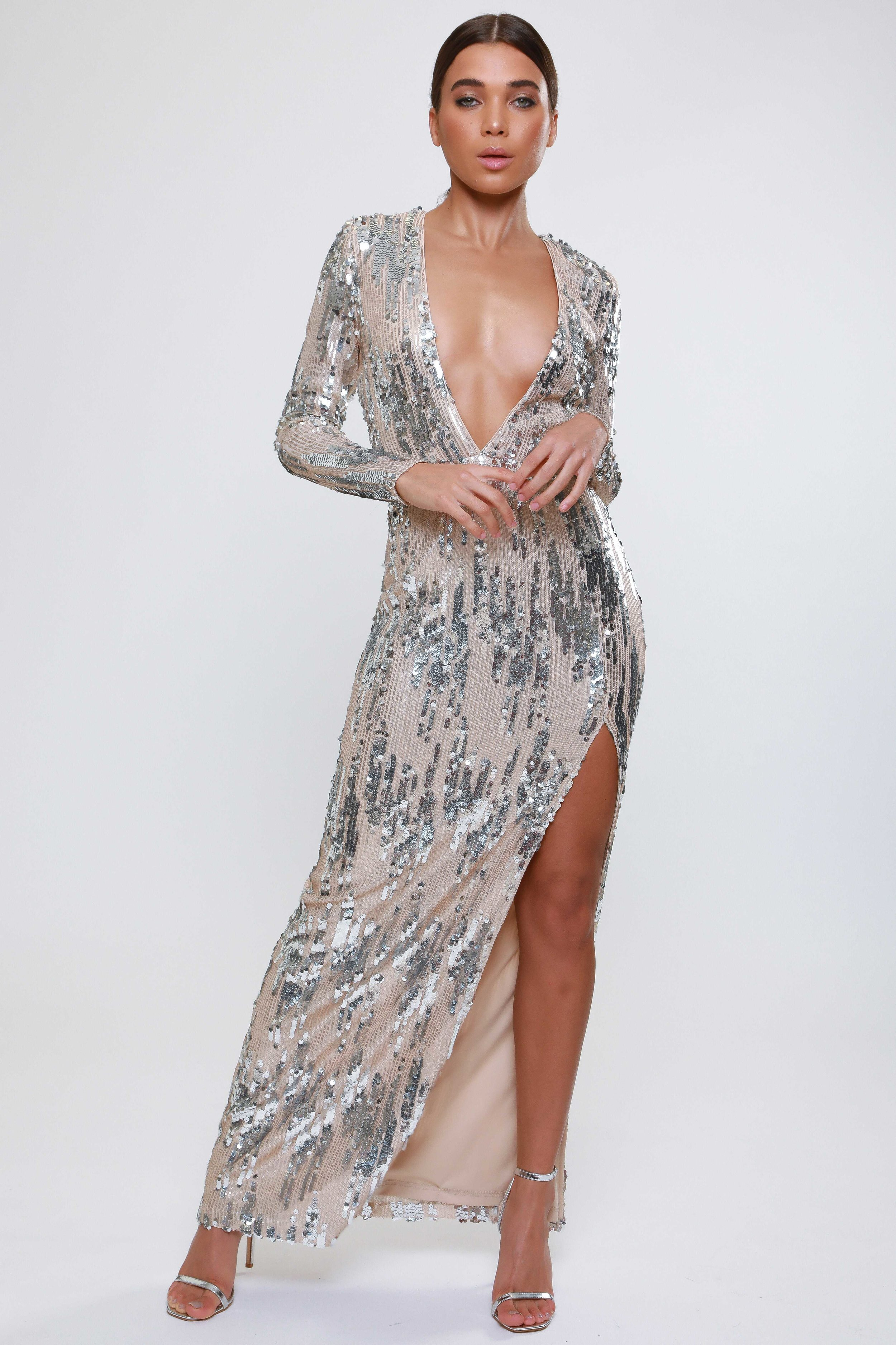 Sequin Plunge  Maxi Dress   £125.00