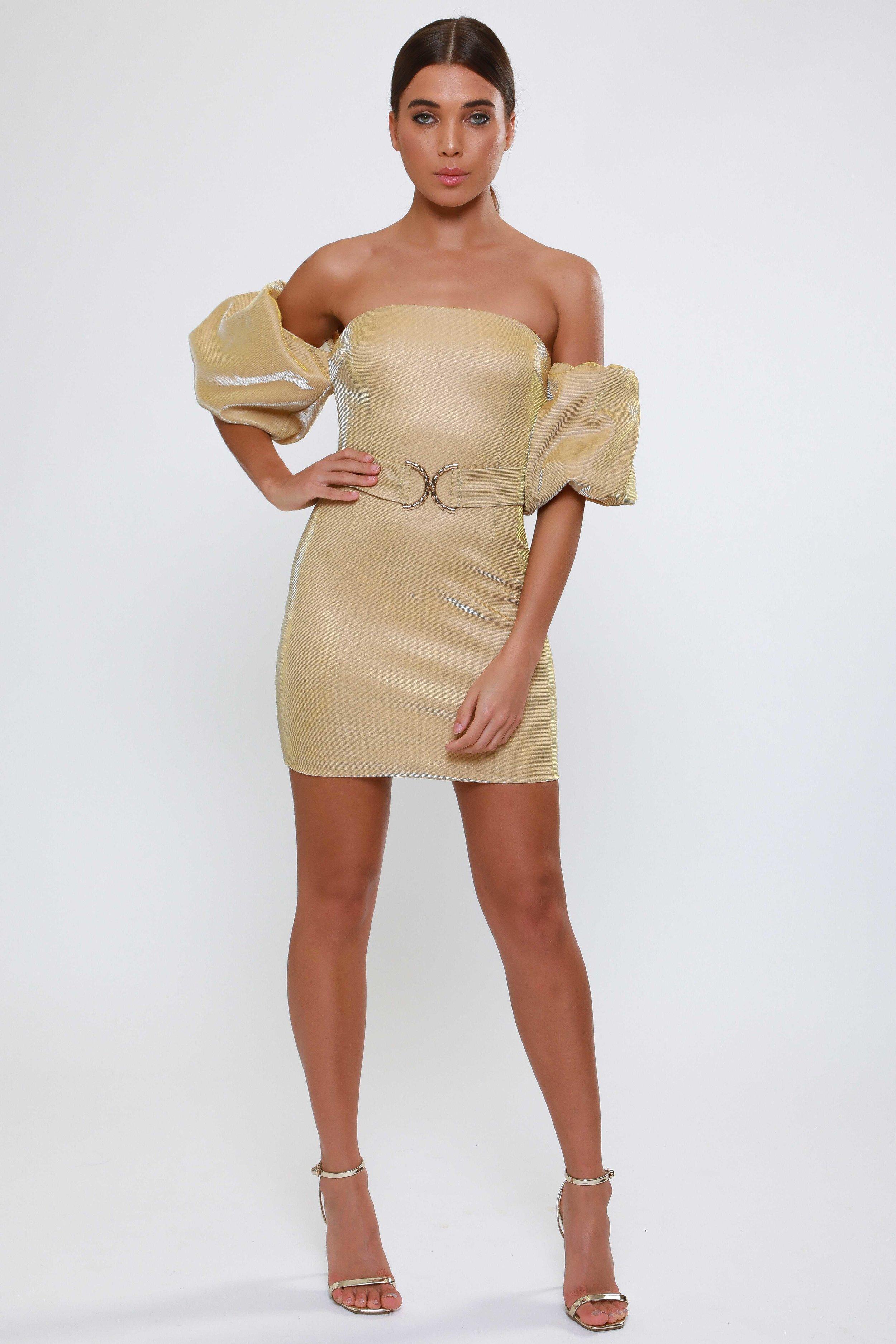 Gold Metallic Puff Sleeve  Mini Dress   £55.00