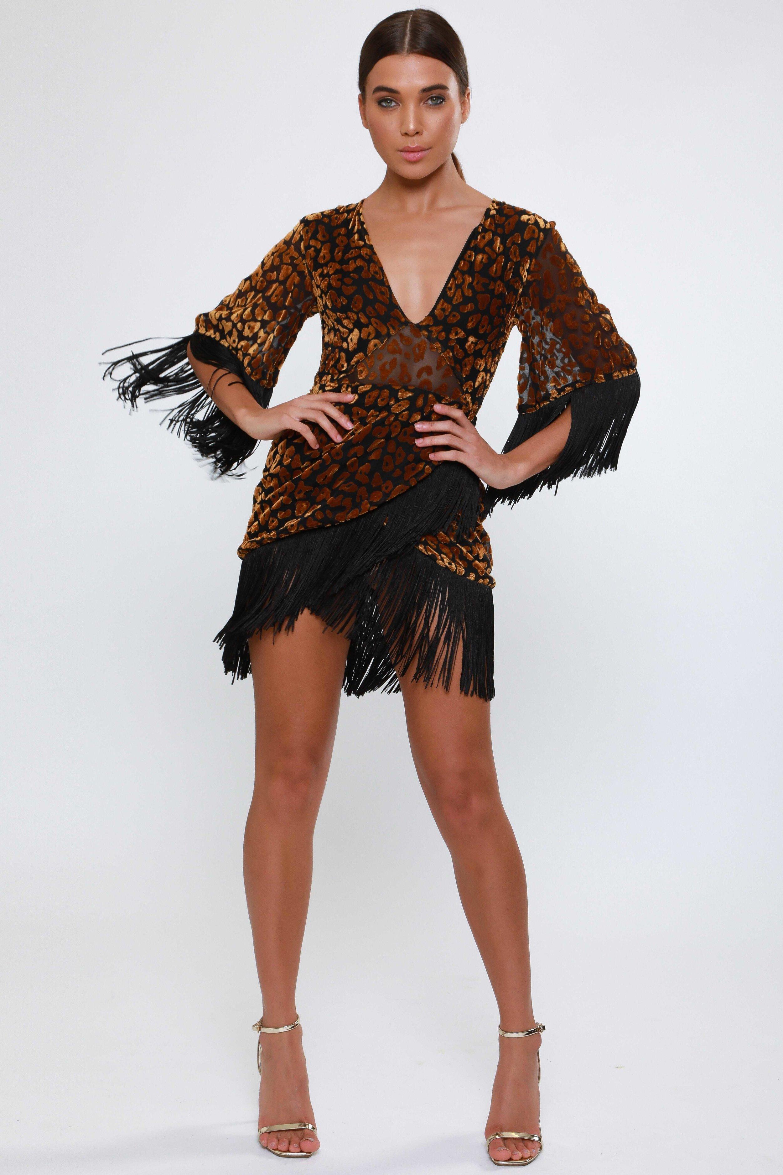 Animal Burnout Velvet  Wrap Dress   £65.00