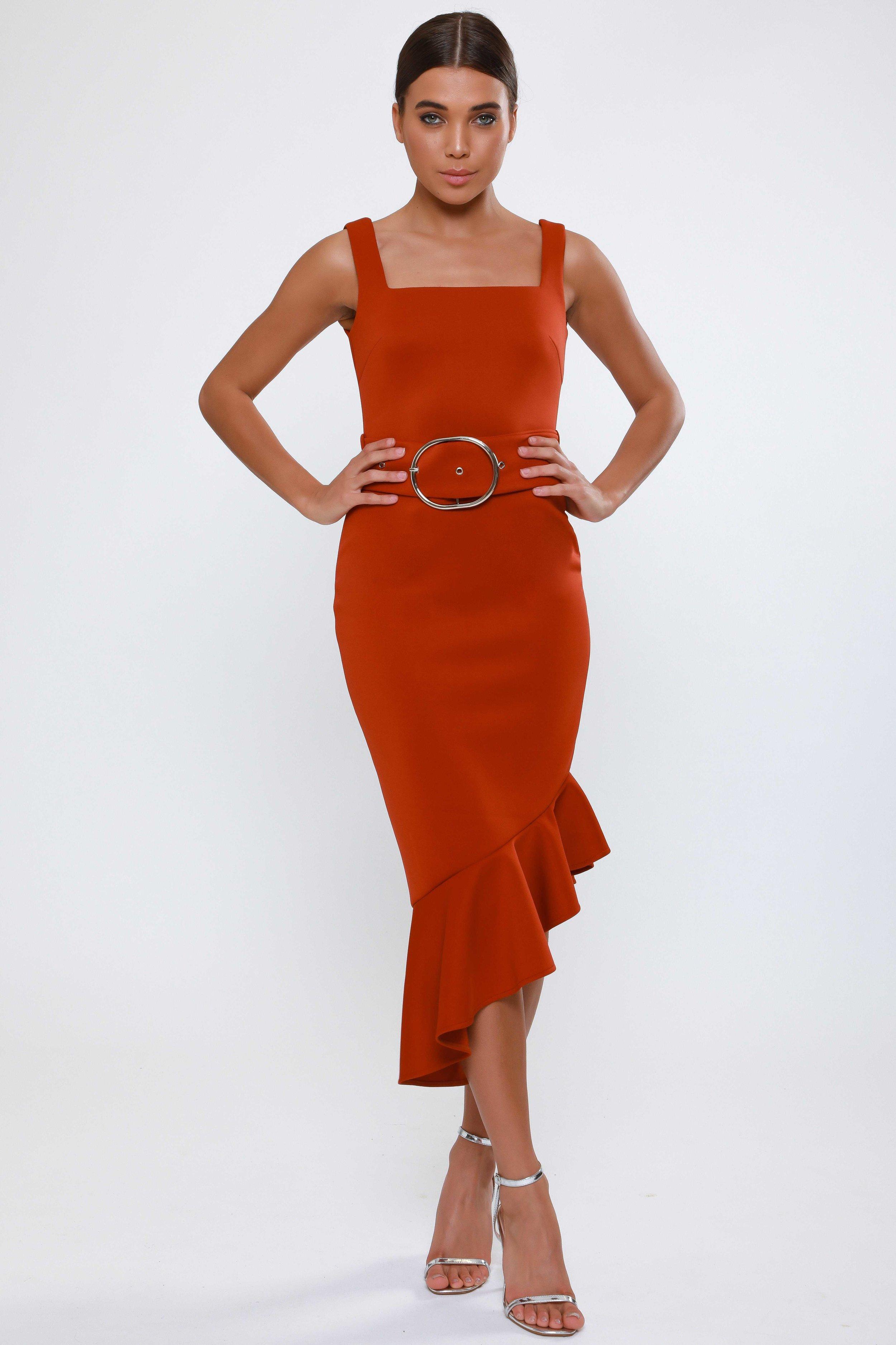 Asymmetric Frill Hem  Midi Dress   £65.00