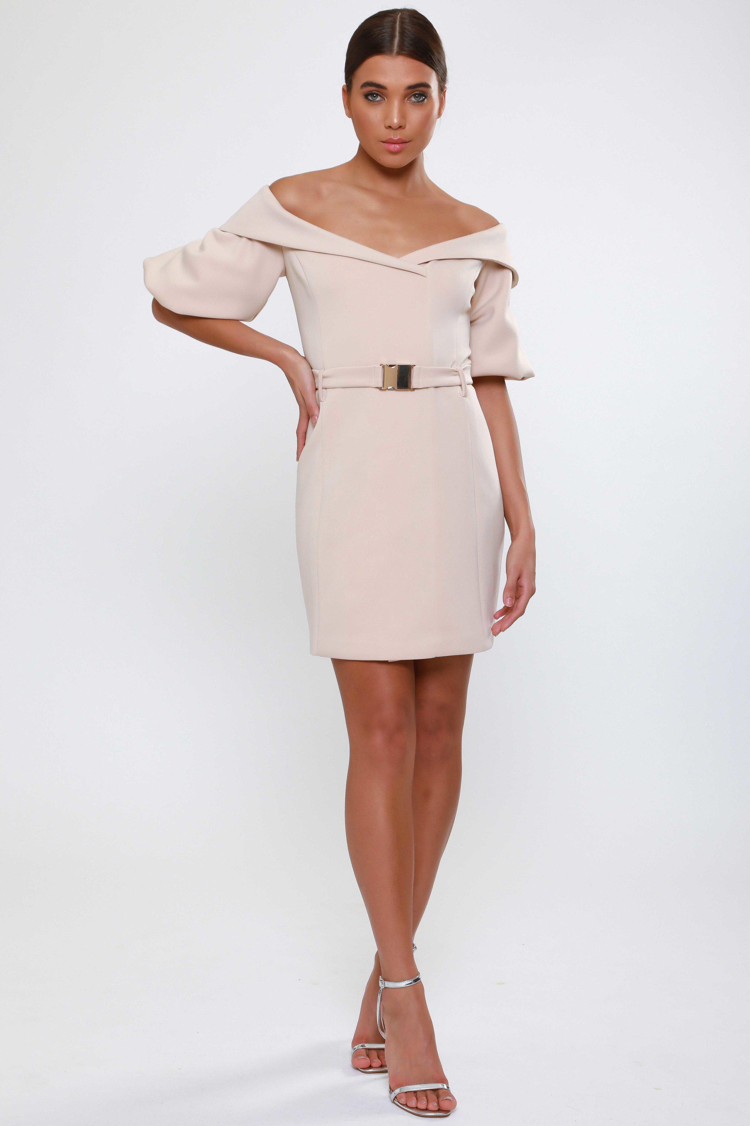 Puff Sleeve Blazer Dress  with Gold Hardware Belt   £65.00