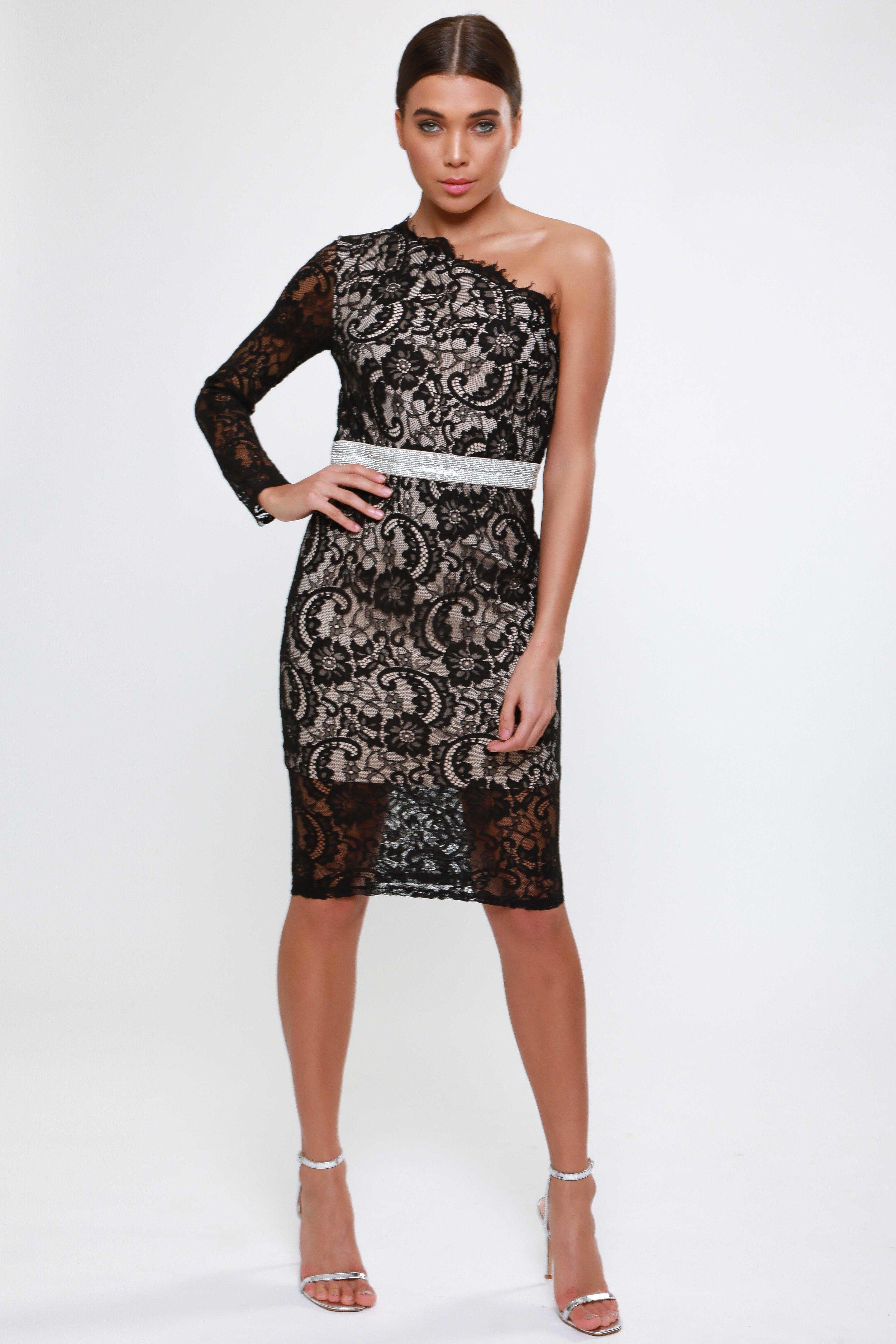 Scalloped Lace Obne  Shoulder Midi Dress   £65.00