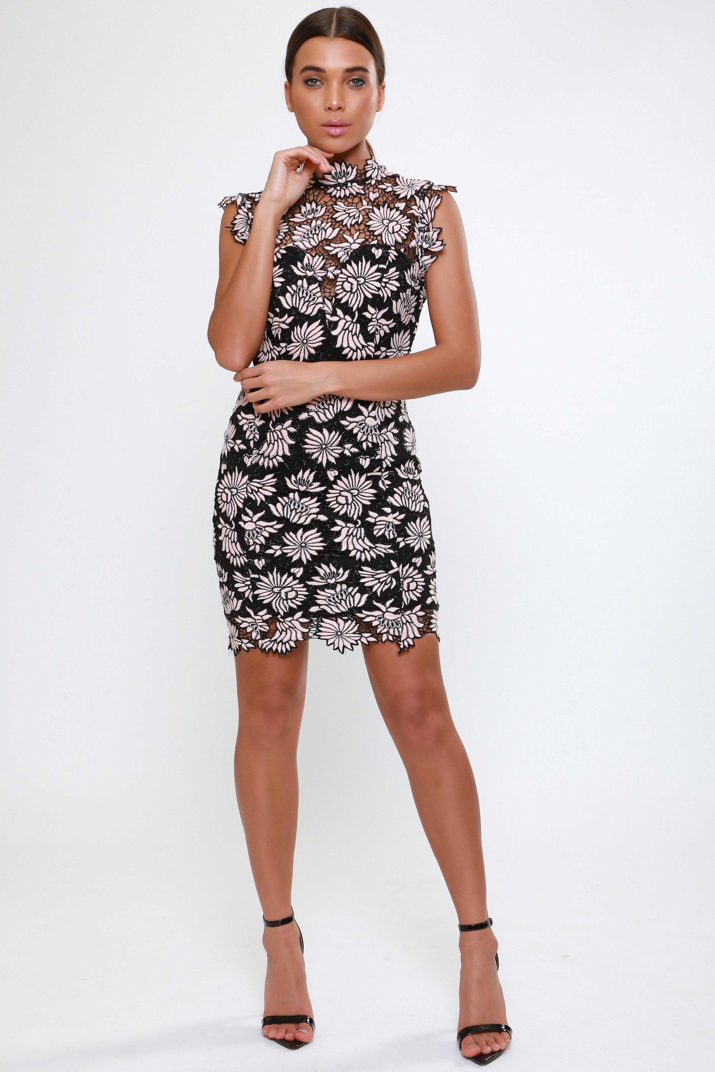 High Neck Crochet Lace Mini  Bodycon Dress   £75.00