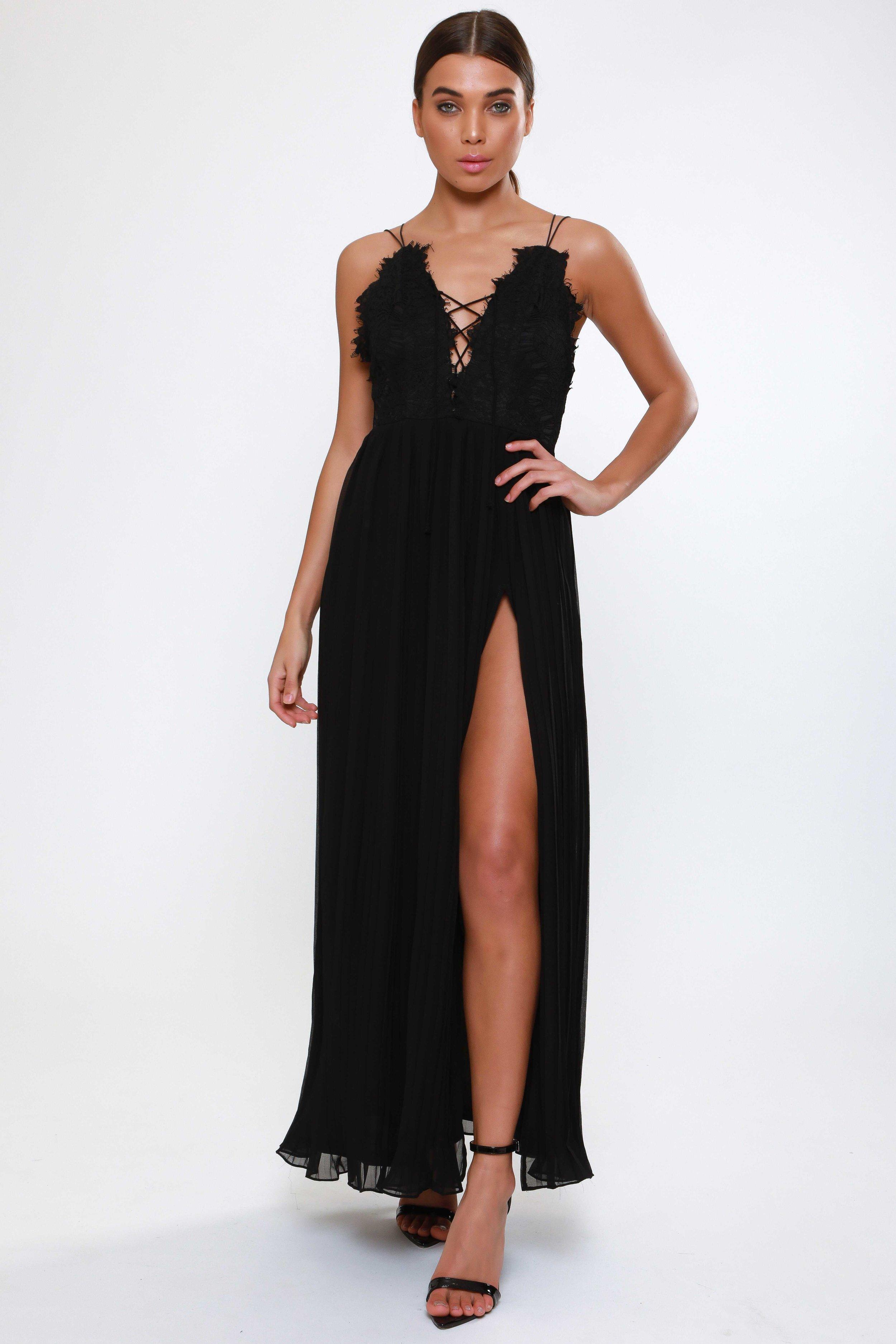 Black Lace Up Detail  Maxi Dress   £69.00