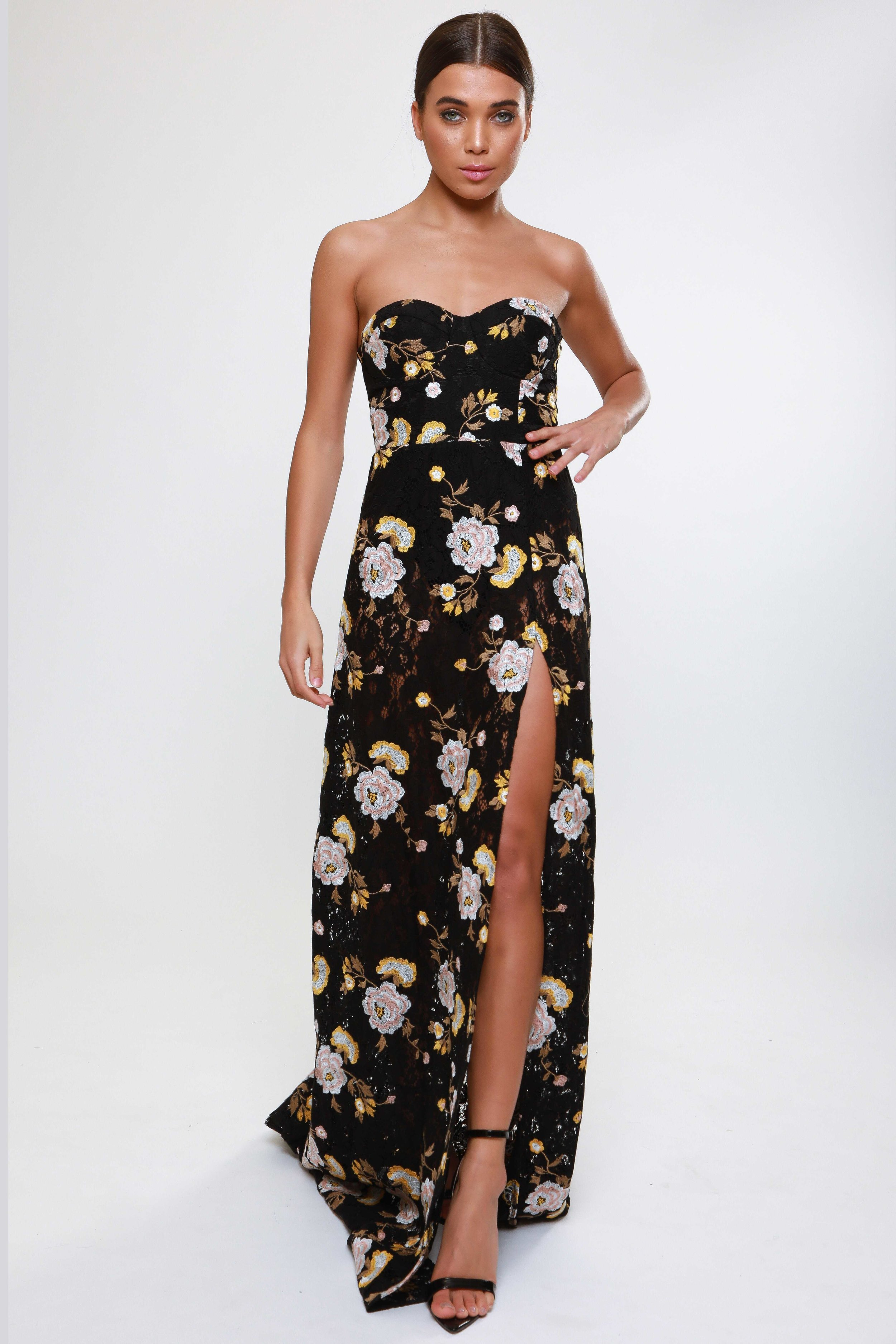 Embroidered Lace Split Detail  Maxi Dress   £90.00