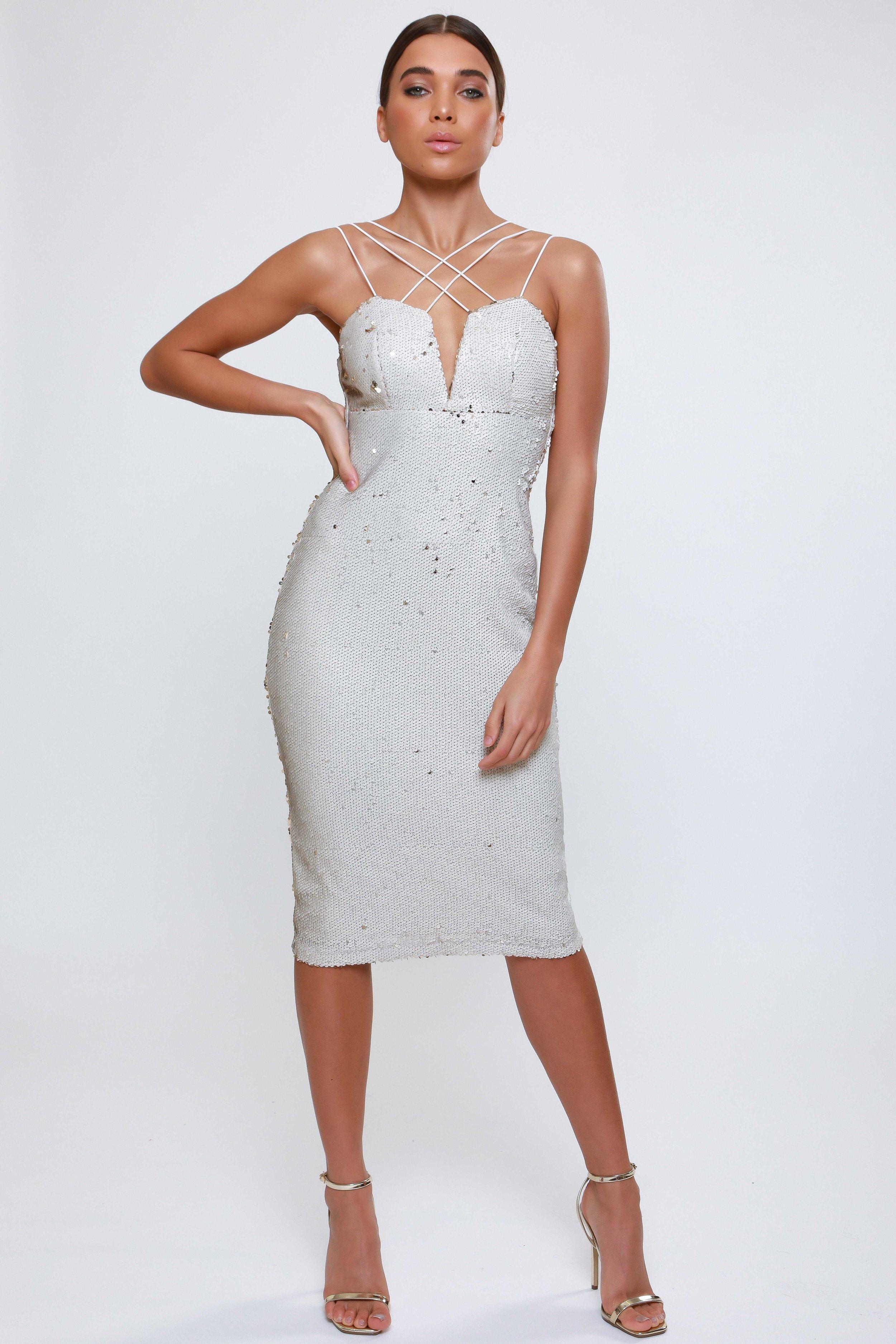 Sequin Multi Strap  Midi Dress   £69.00