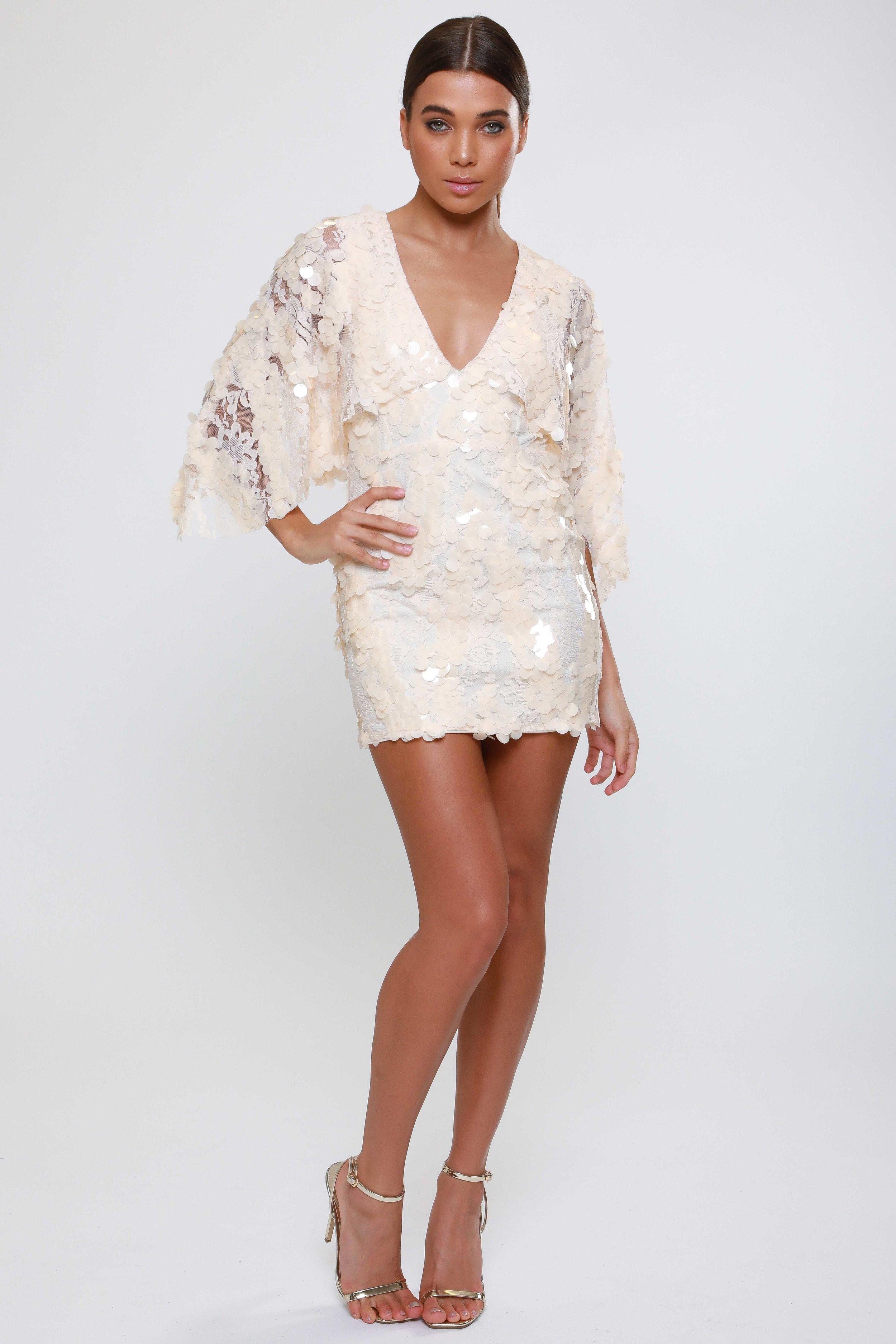 Textured Sequin Cape Sleeve  Mini Dress   £65.00