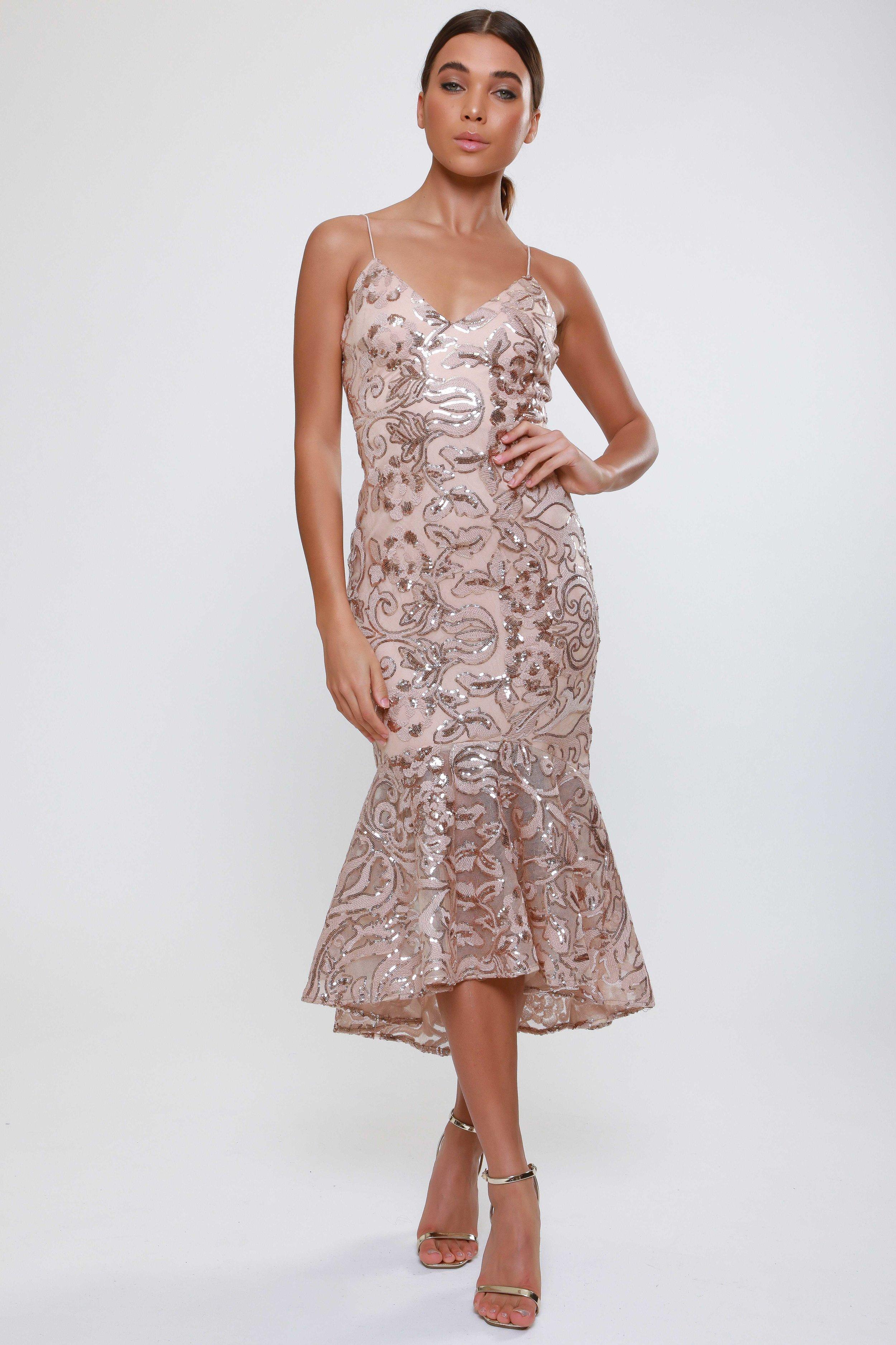 Sequin Fluted Hem  Midi Dress   £75.00