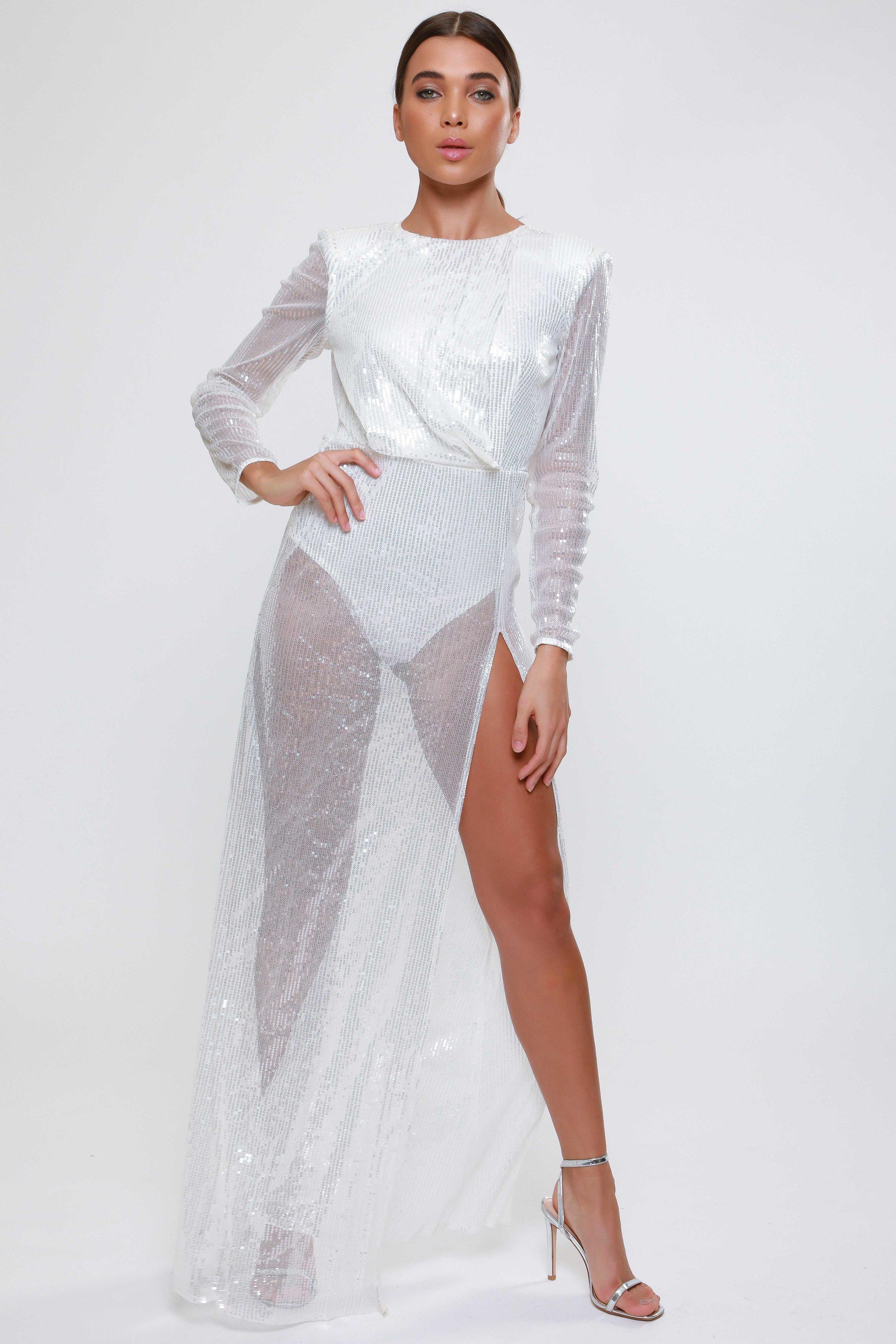 White Sequin Drape Detail  Maxi Dress   £85.00