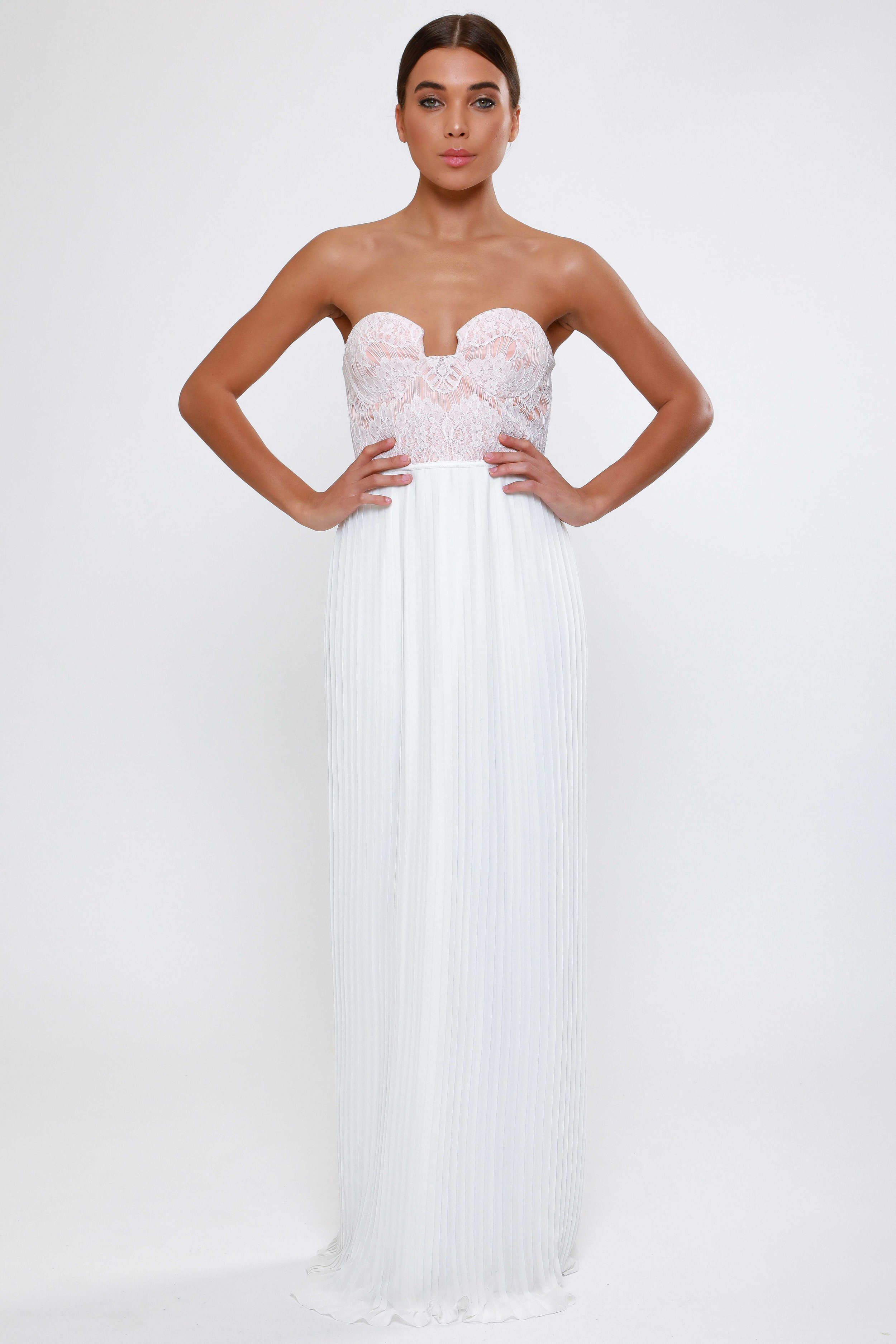 Strapless Bust Cup Lace  Pleated Maxi Dress   £59.00