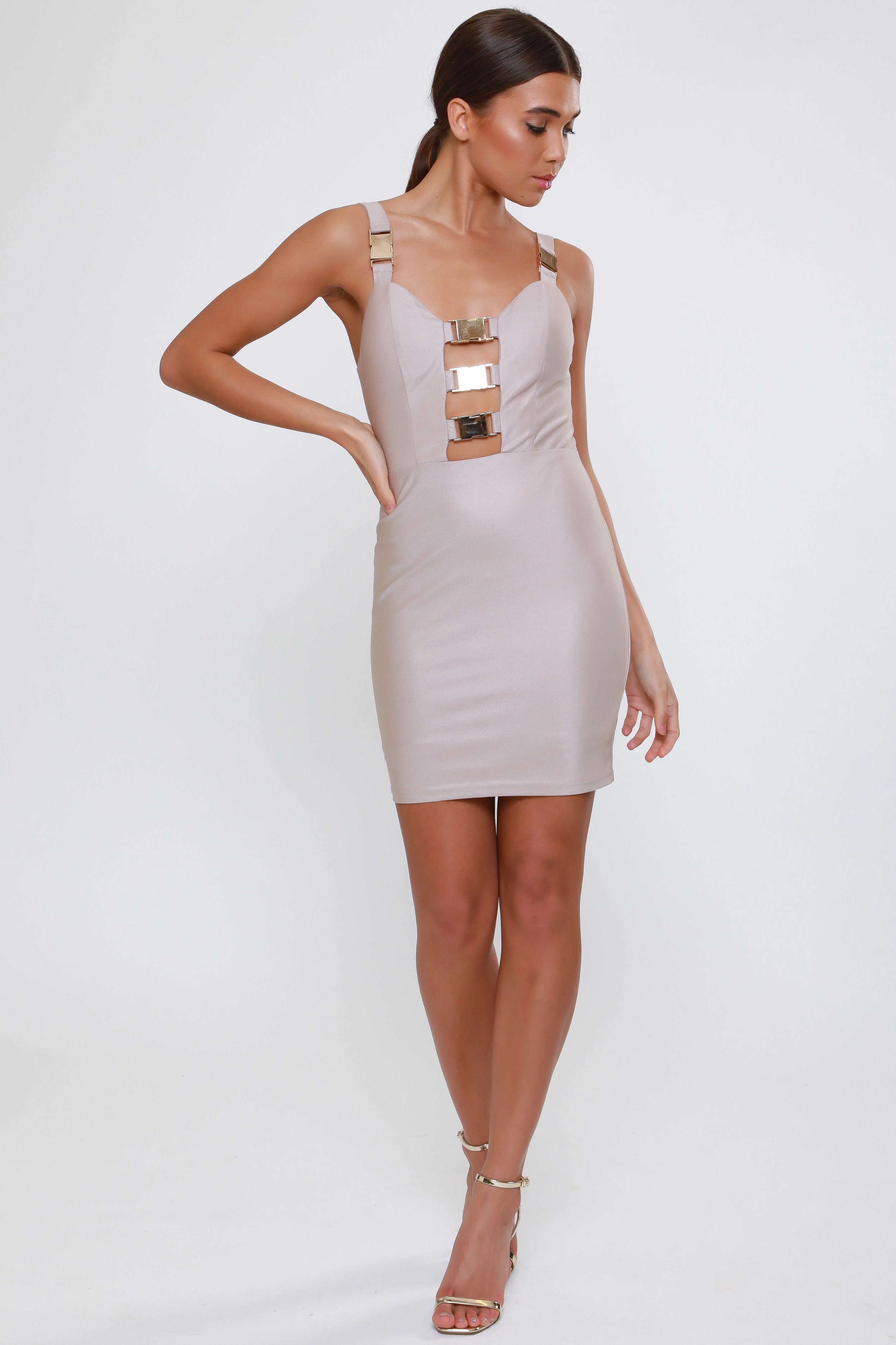 Gold Hardware Clasp Detail  Bodycon Dress   £49.00