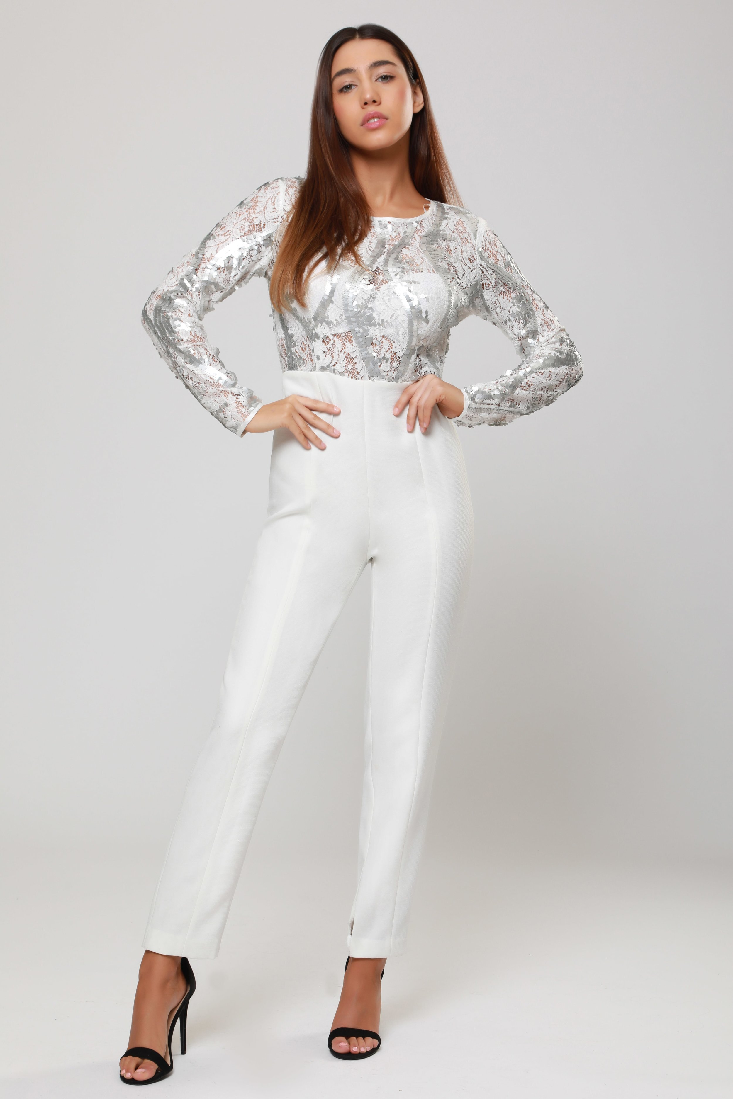 Sequin Top and Tailored  Trouser Jumpsuit   £75.00