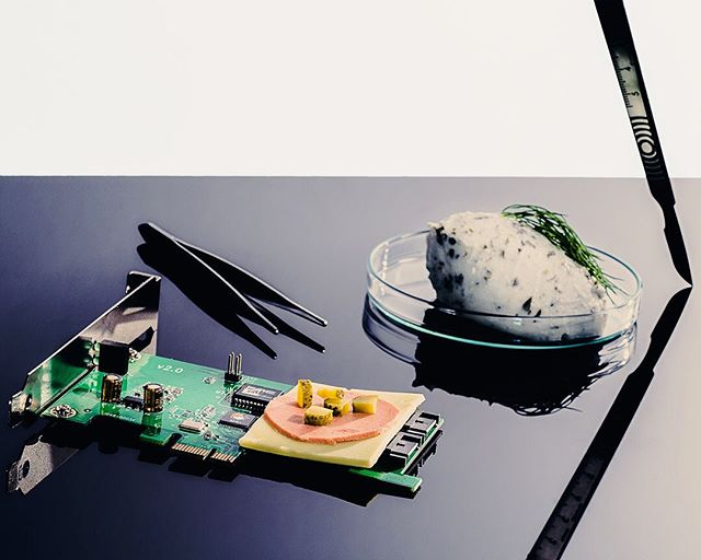 """A Critique of Vegan Processed Foods 3/3  Canapé of fake cheese, ham and coconut cream cheese, served on a circuit board.  Why do mushrooms and beetroots need to look, taste, feel and bleed like a beef burger? Why use science and technology to process plant-based foods at all? What's wrong with just vegetables and legumes, as created by nature?  Do you think """"Big Food Inc."""" just wants consumers to keep buying into their vicious cycle of processed foods, with a disregard of its health consequences for the greater population? . . . . . #veganlondon #veganlunch #londonvegan #veganchocolate #ukvegans #veggiesalad #vegansalad #vegandinner #whatveganseat #vegansofldn #happyvegan #veganmeal #veganuk #vegansofinsta #meatless #meatlessmonday #veggielover #vegandessert #vegan #plantbased"""