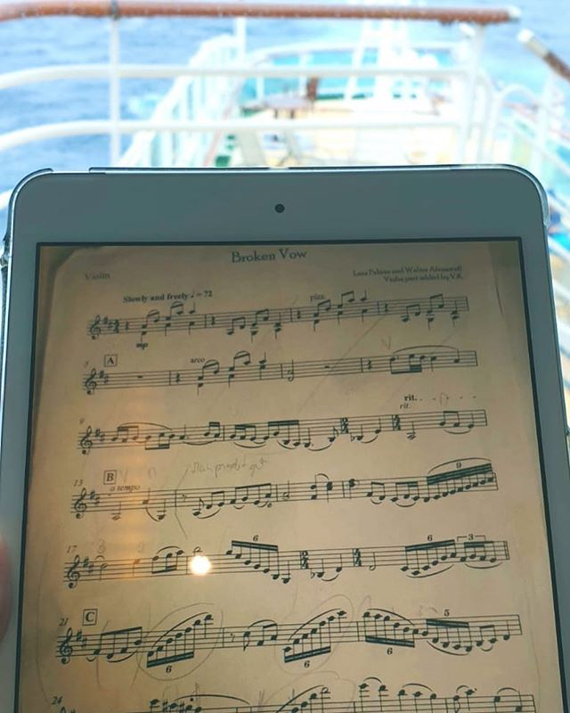 Onboard preparations. Time to look over some music from our show. . . . #dynamicduo #highoctane #violinandvoice #jamesbond #weddingentertainment #enromusic #livemusic #londonmusic #elegance #excellence #luxury #entertainment #cruiseentertainment #corporateentertainment #style