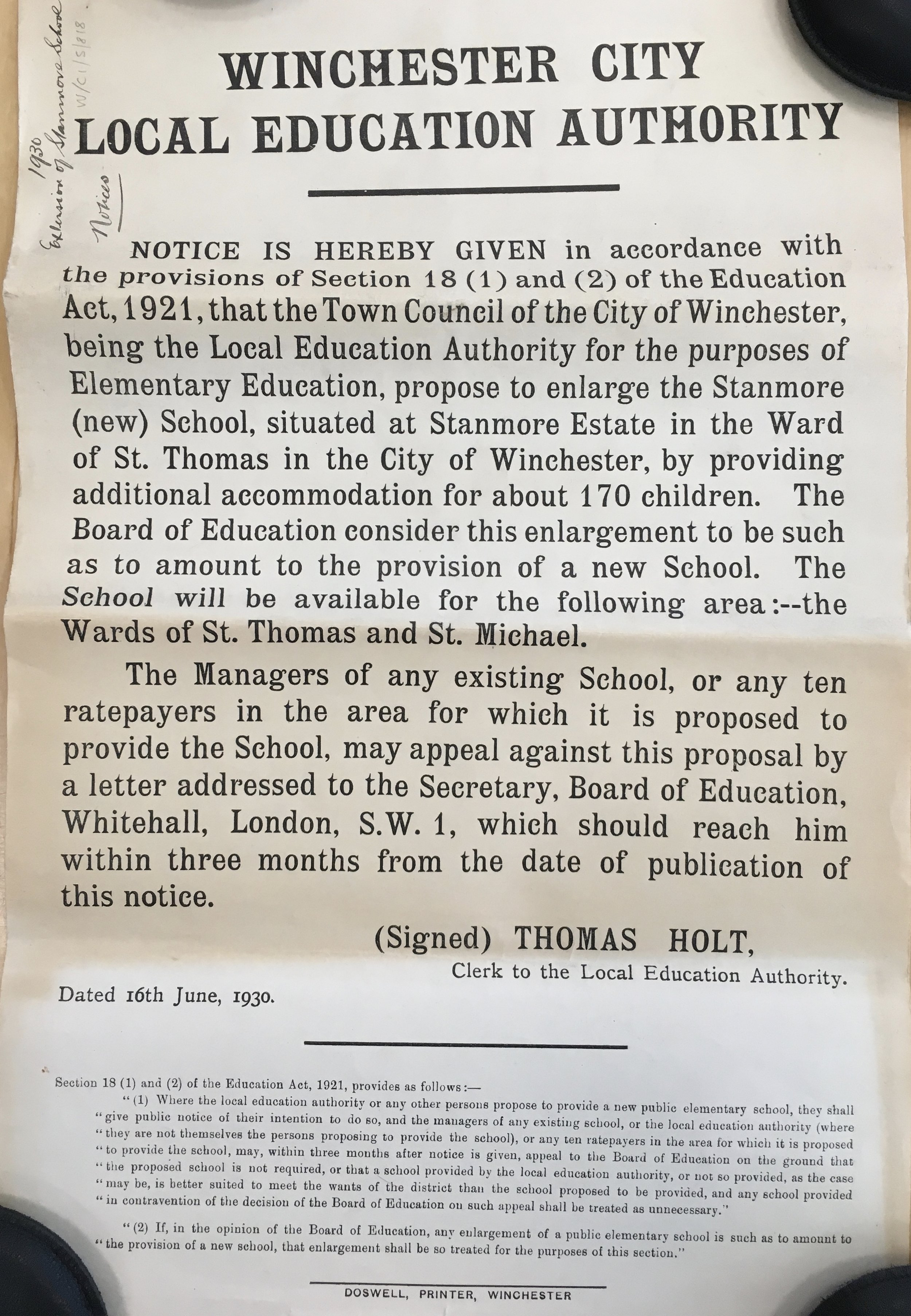Poster giving notice of the city's proposal to provide additional accommodation for about 170 children, Aug 1930   Courtesy of Hampshire Archives