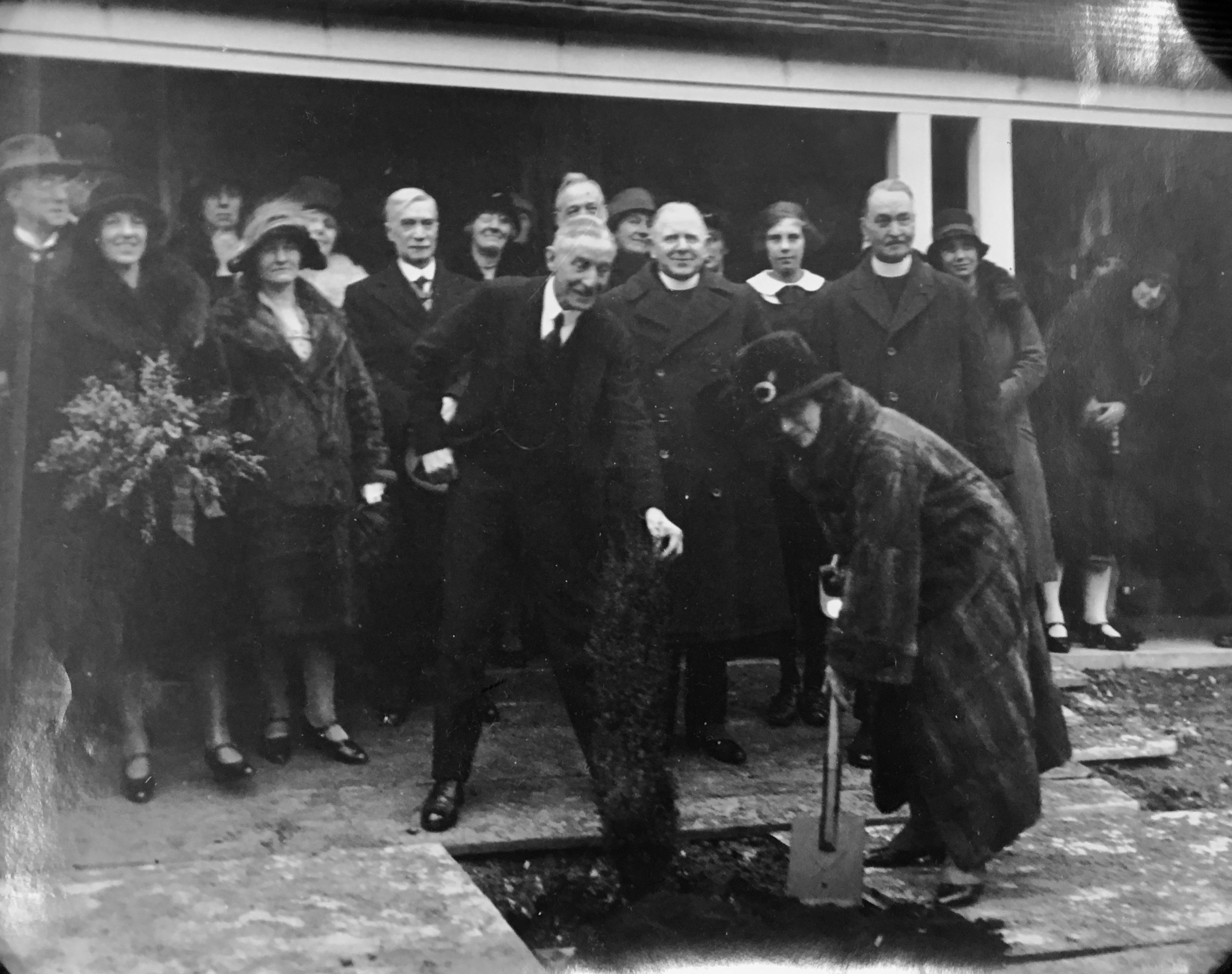 The Duchess of Atholl planting a juniper tree at Stanmore School, Winchester  The photograph also includes Alderman Edmeades, Miss D Edmeades, Mrs Symes and Mayor Symes, Rev Glass and Rev Sirhowy Jones.