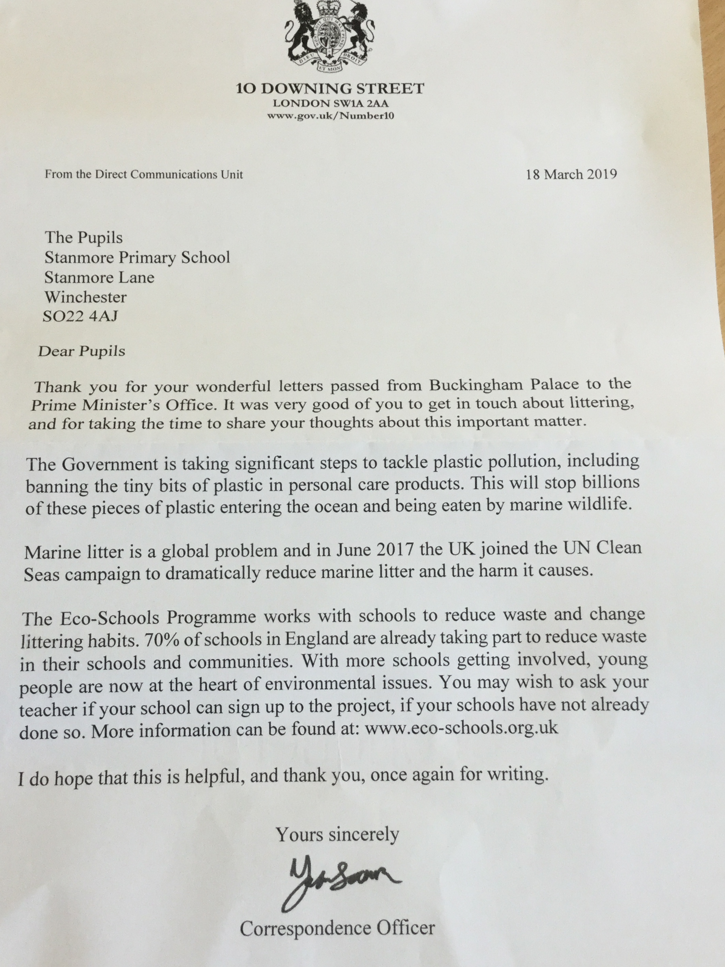 A letter from 10 Downing Street to our Year 6 pupils at Stanmore Primary
