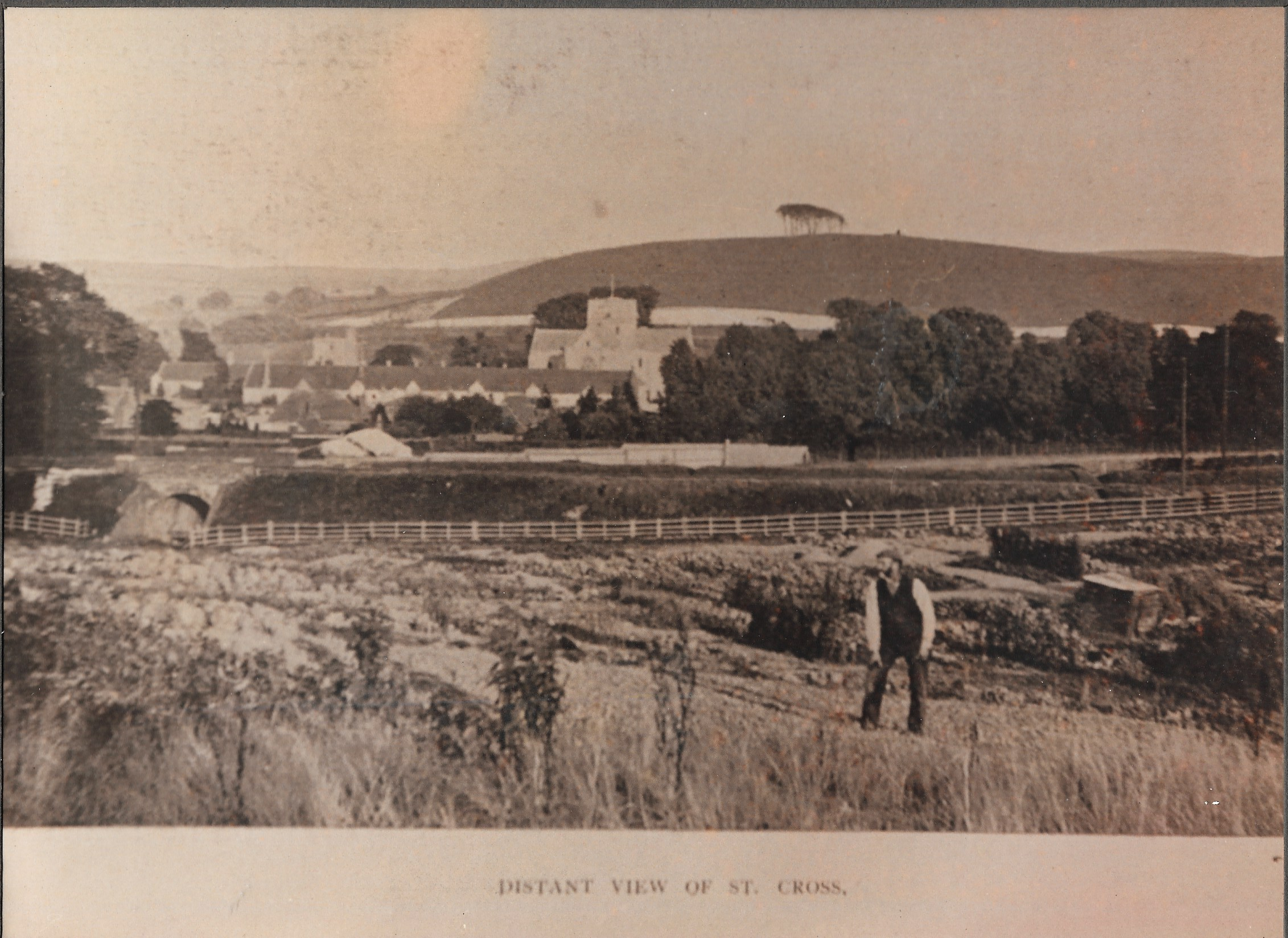 Distant view of St. Cross, Winchester - pre 1928 from the land that Stanmore School was built on.