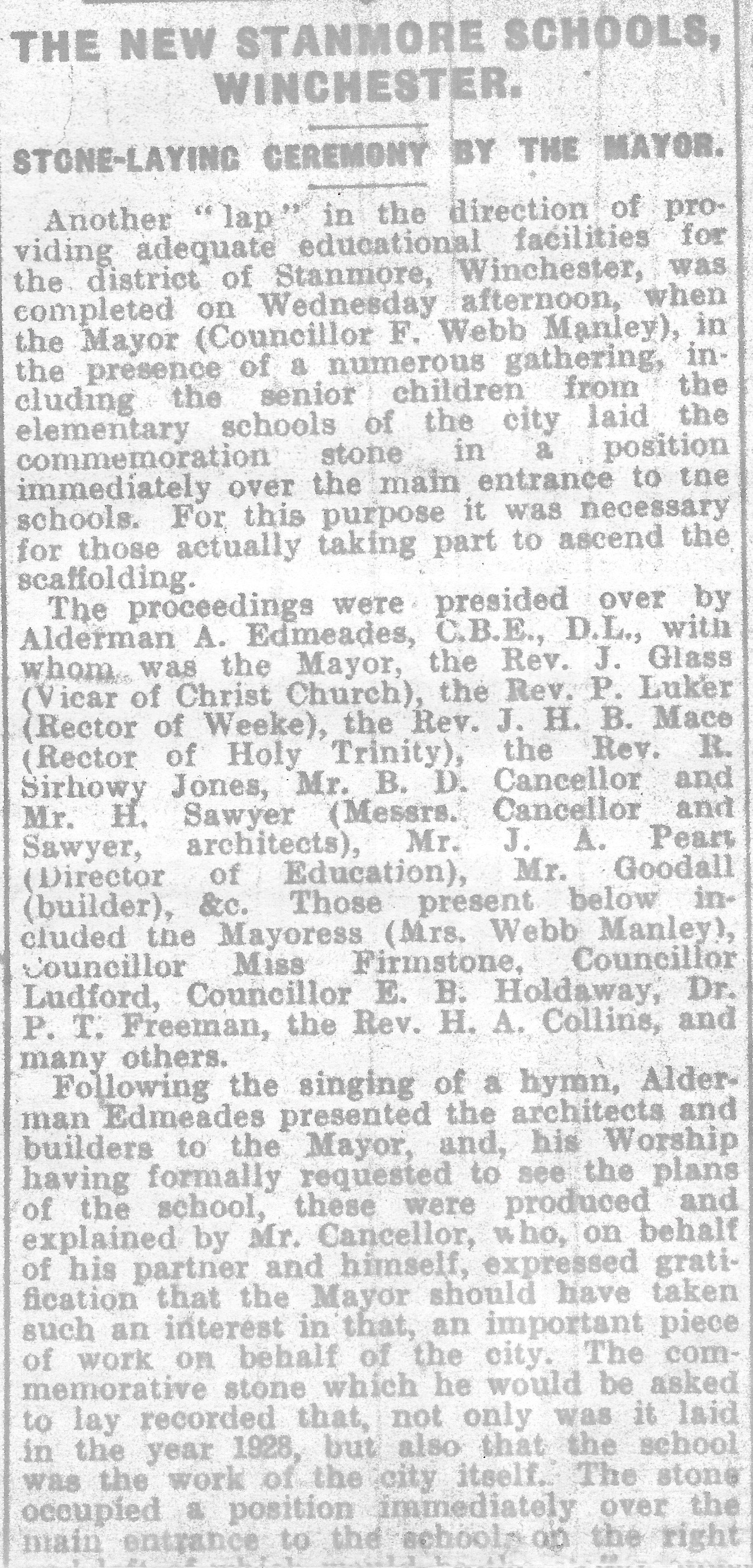 Extract from the Hampshire Chronicle