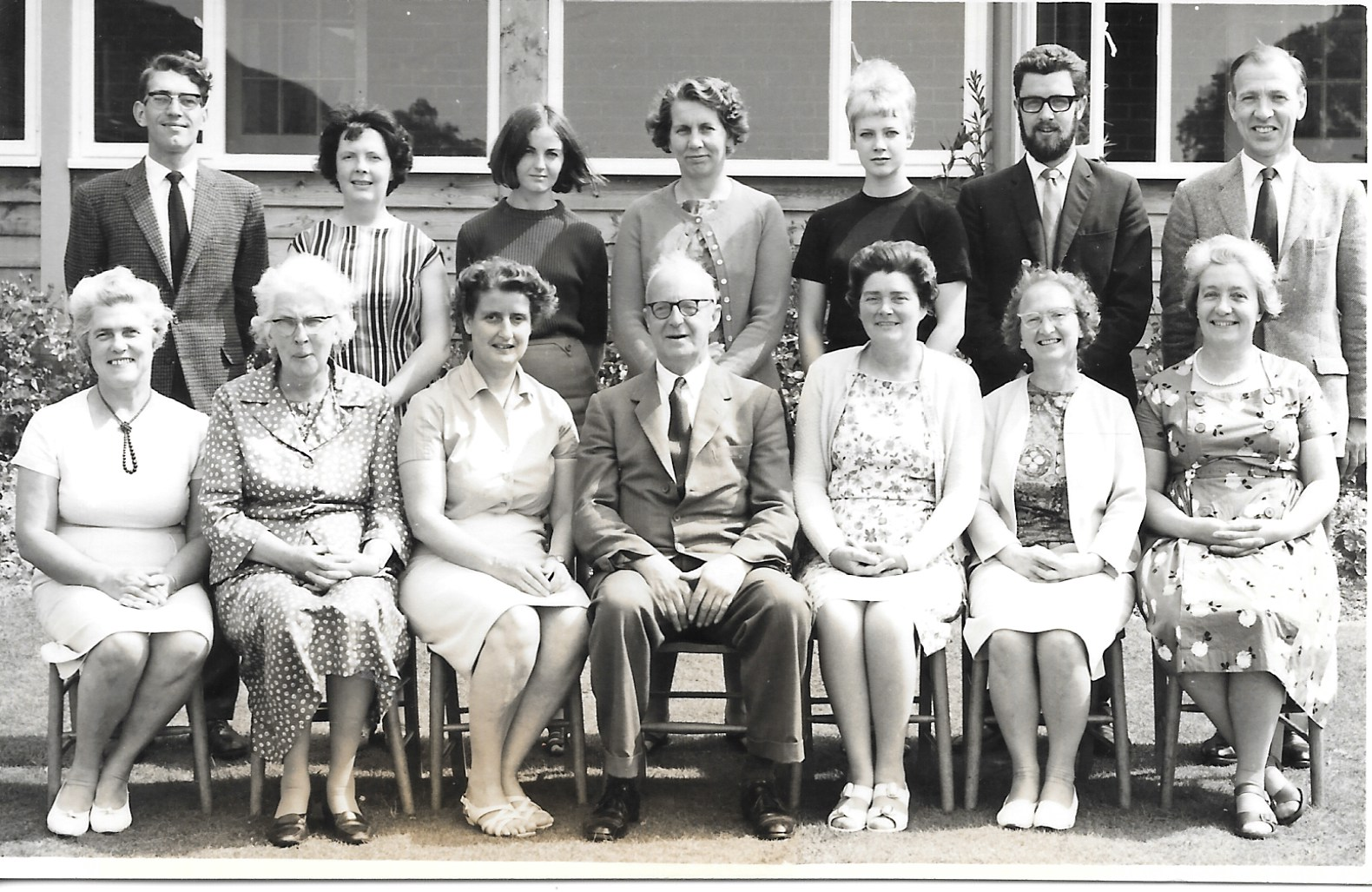 Staff photo  Back row - ?, ?, ?, ?, Miss Clarke, Mr Wolloughby, Mr Chipperfield Front row - Mrs Blake, Miss Glover, Miss Percival, Mr King, Mrs Cooper, Miss Brown, Mrs Green