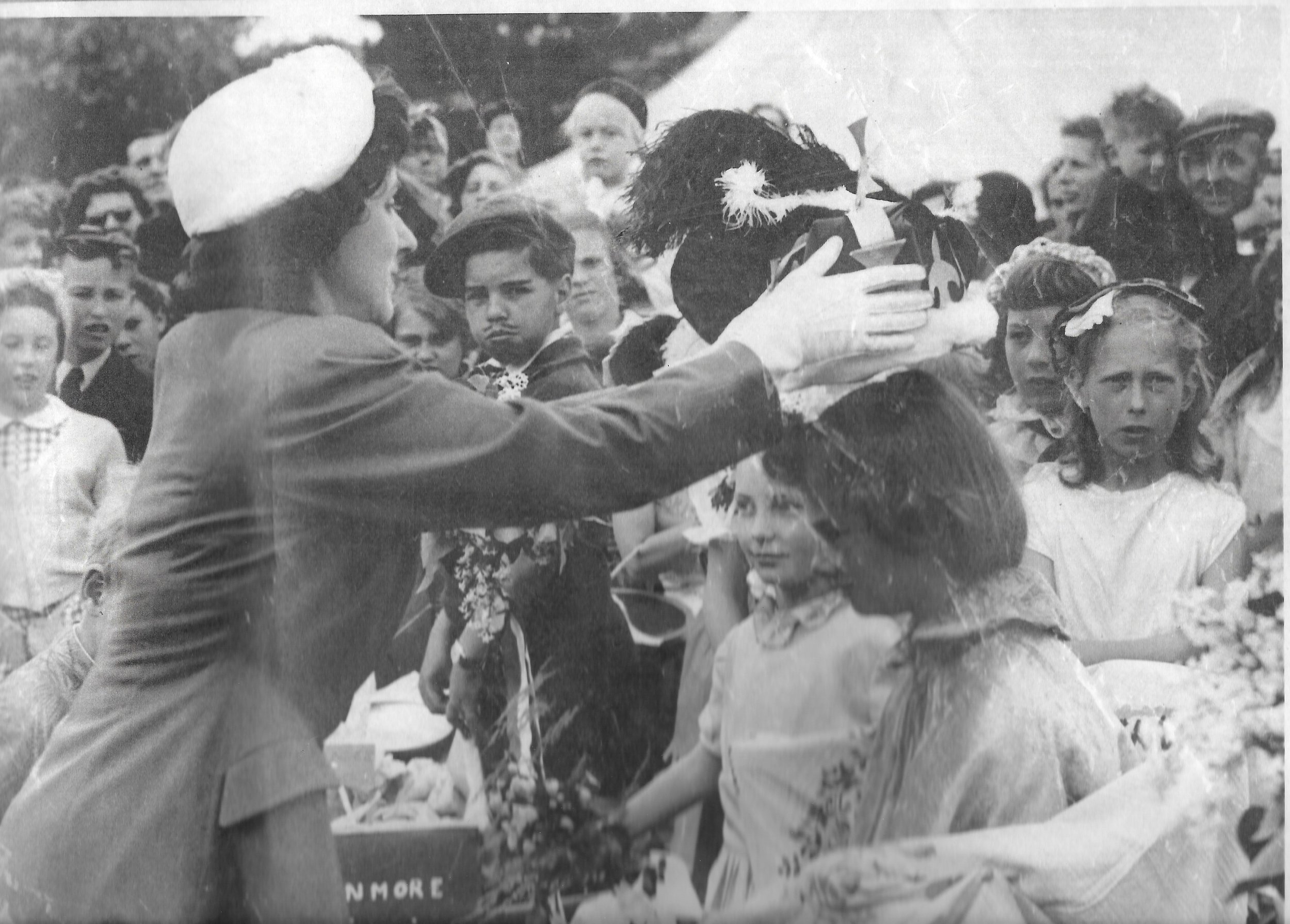 "Stanmore Mayfair 1957 Radio celebrity ""Grace Archer"" crowns the May Queen."
