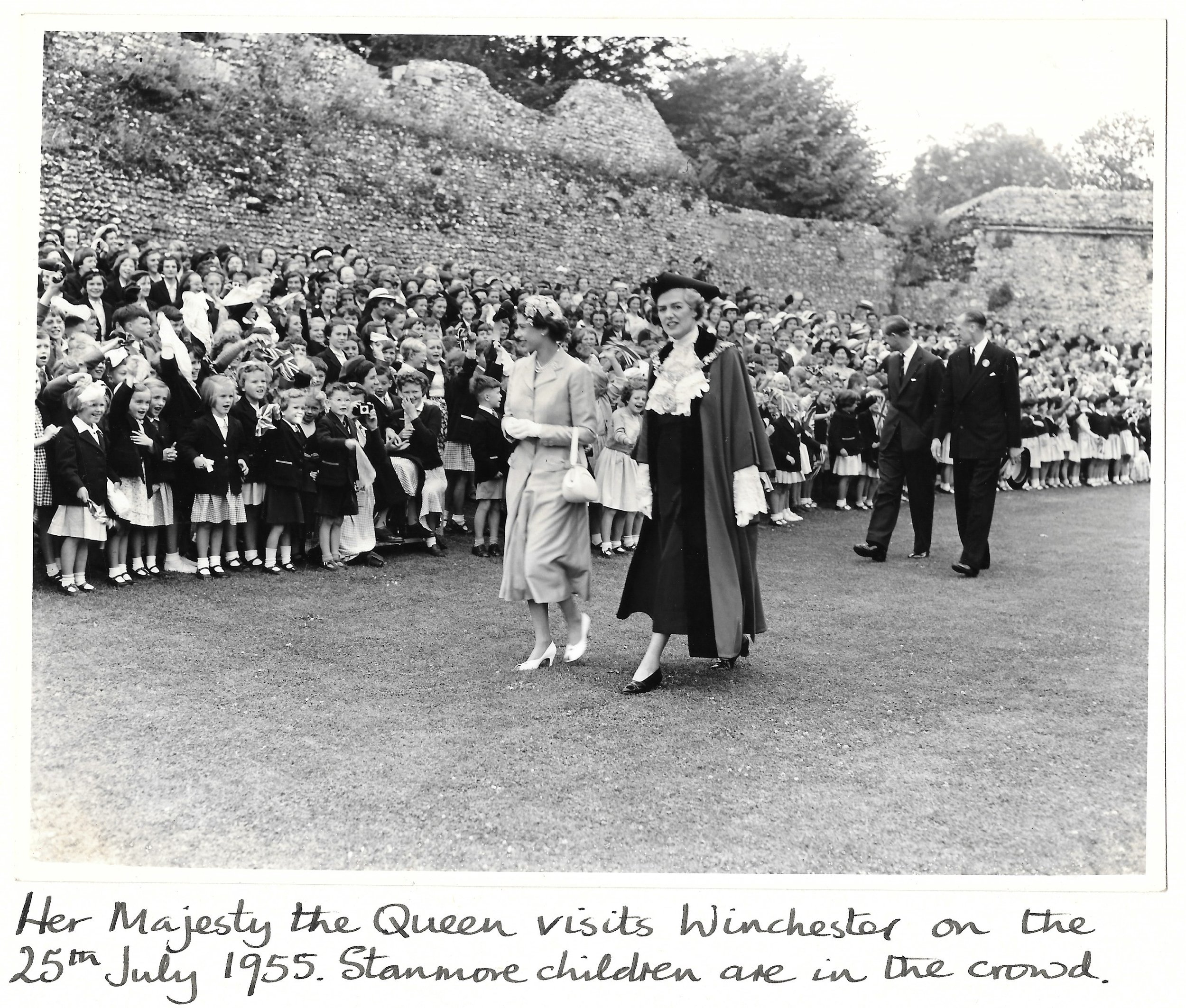 The Queen visiting Winchester on 26 July 1955