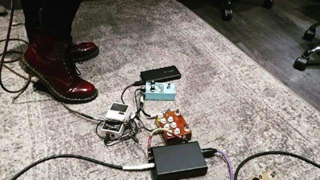 We're in the studio with @nervusmusic and @neildkennedy Here's the Ladyfuzz pedal is being used for a solo by @nogodsnobinaries on the new record. Order yours from ladyfuzz.bigcartel.com 💙🖤