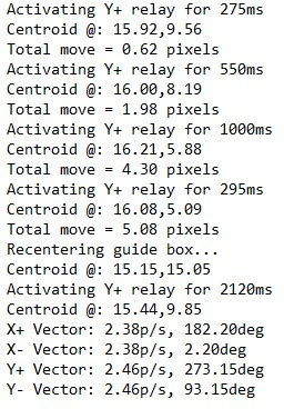 H  ere is the final part of the SG-4 calibration log. The most important part is the X+, X-, Y+, andY- movement in pixels and direction .
