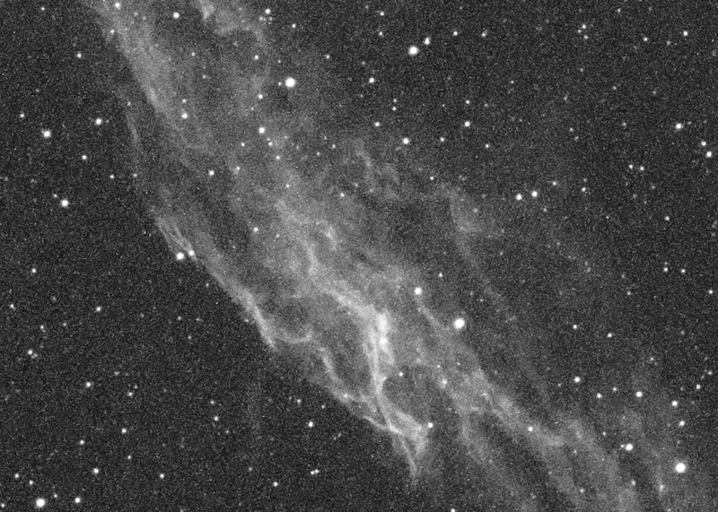 100% crop of h-alpha eastern veil at ISO 1600 for 15 minutes with the SG-4/Baader/AP scope.