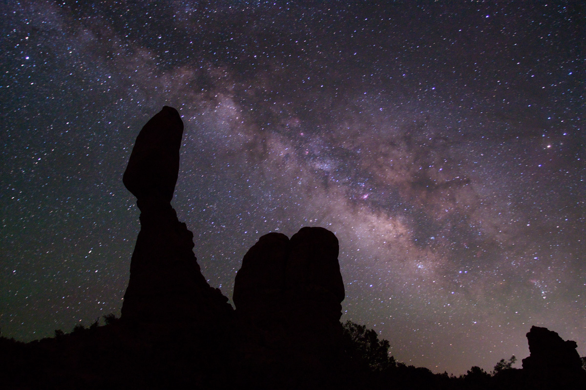 Milky Way over Balanced Rock in Arches National Park