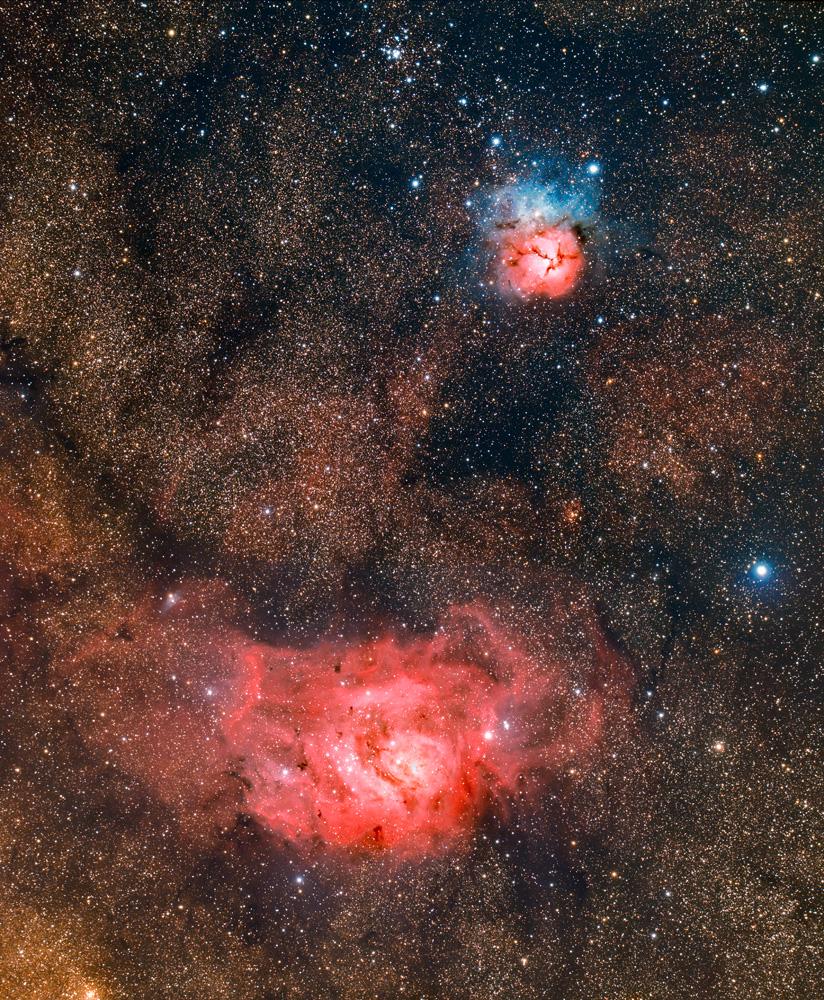 M8 and M21 (Lagoon and Trifid Nebulae)