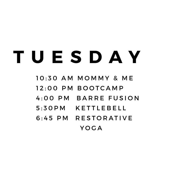 Today's schedule is 🙌 See you in the studio.  #flowspace #hiltonhead #blufftonsc #fitnessstudio #bootcamp #kettlebell #yoga #barre #fusionfitness