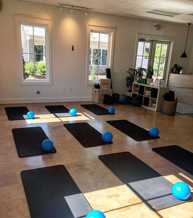 Beautiful morning in the studio for mommy & me!  #flowspace #bluffton #hhi #loveblufftonsc #fitnessstudio