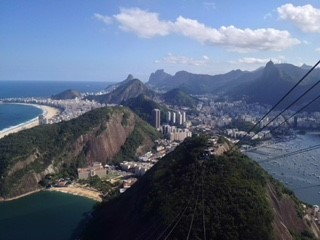 Riding the cable car up to Sugar Loaf Mountain