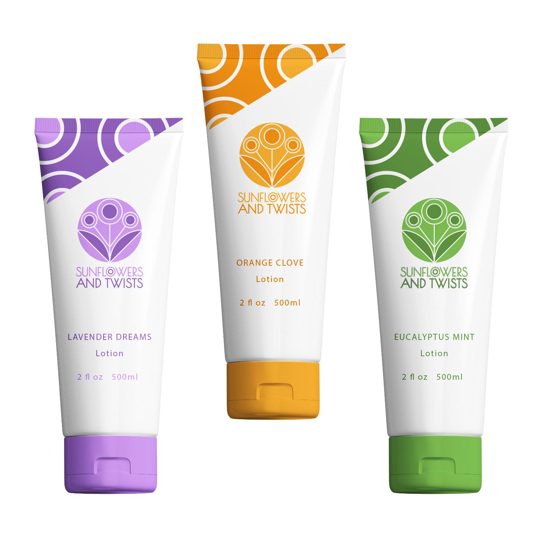 Sunflowers and Twists - Logo Applications  Handmade Organic Lotion Brand