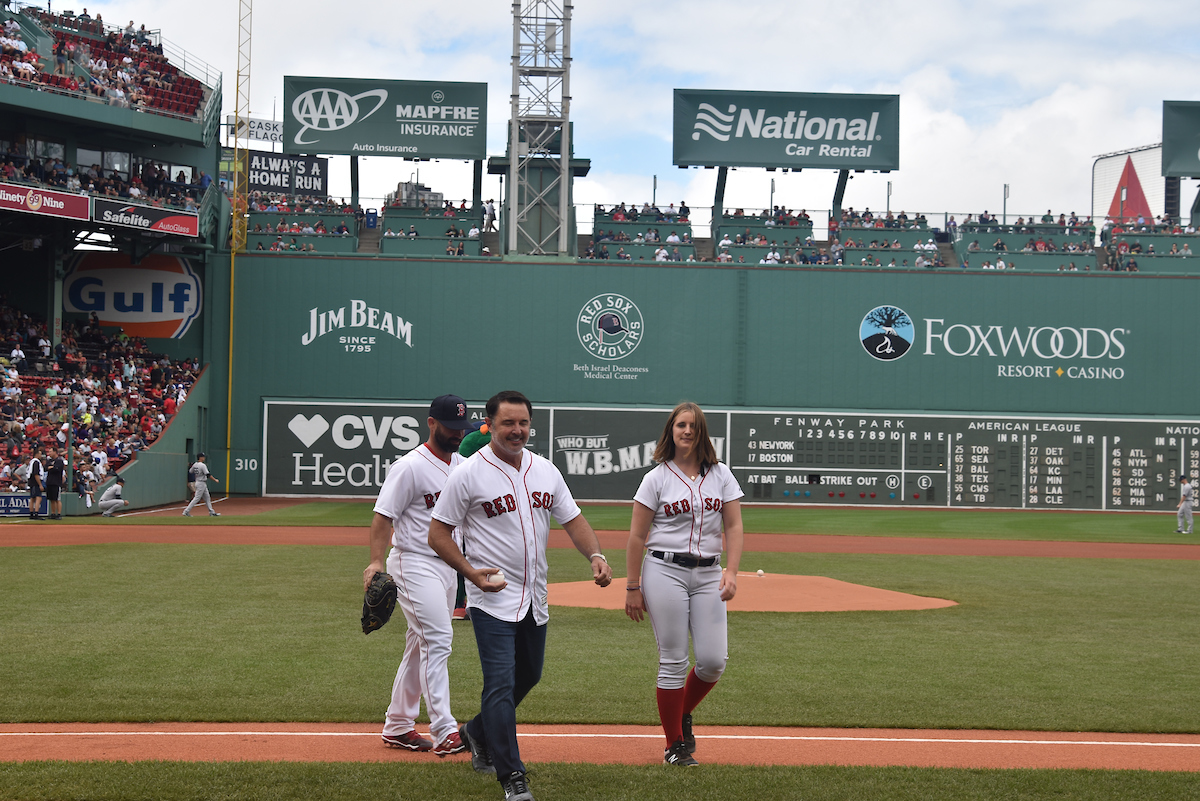 Howard throws out the ceremonial first pitch at Fenway Park