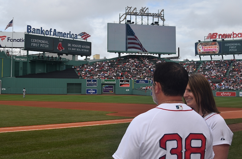 Howard prepares to throw out the ceremonial first pitch at Fenway Park