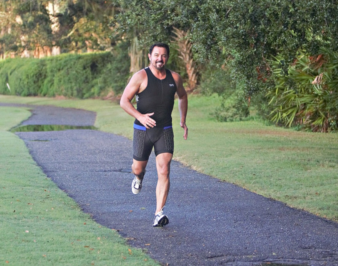 Howard during his 2018 triathlon training.