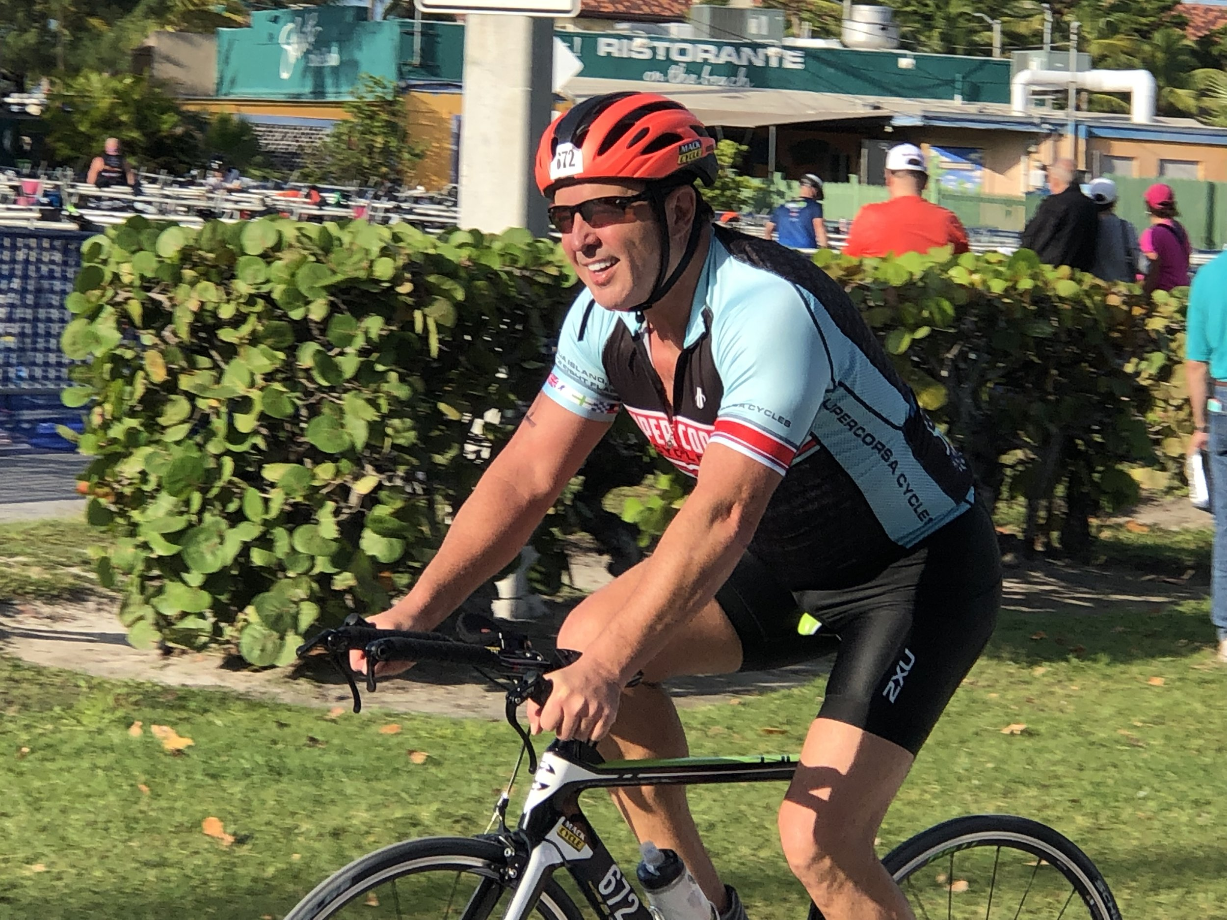 Howard participates in a 2018 triathlon in Key West, Florida