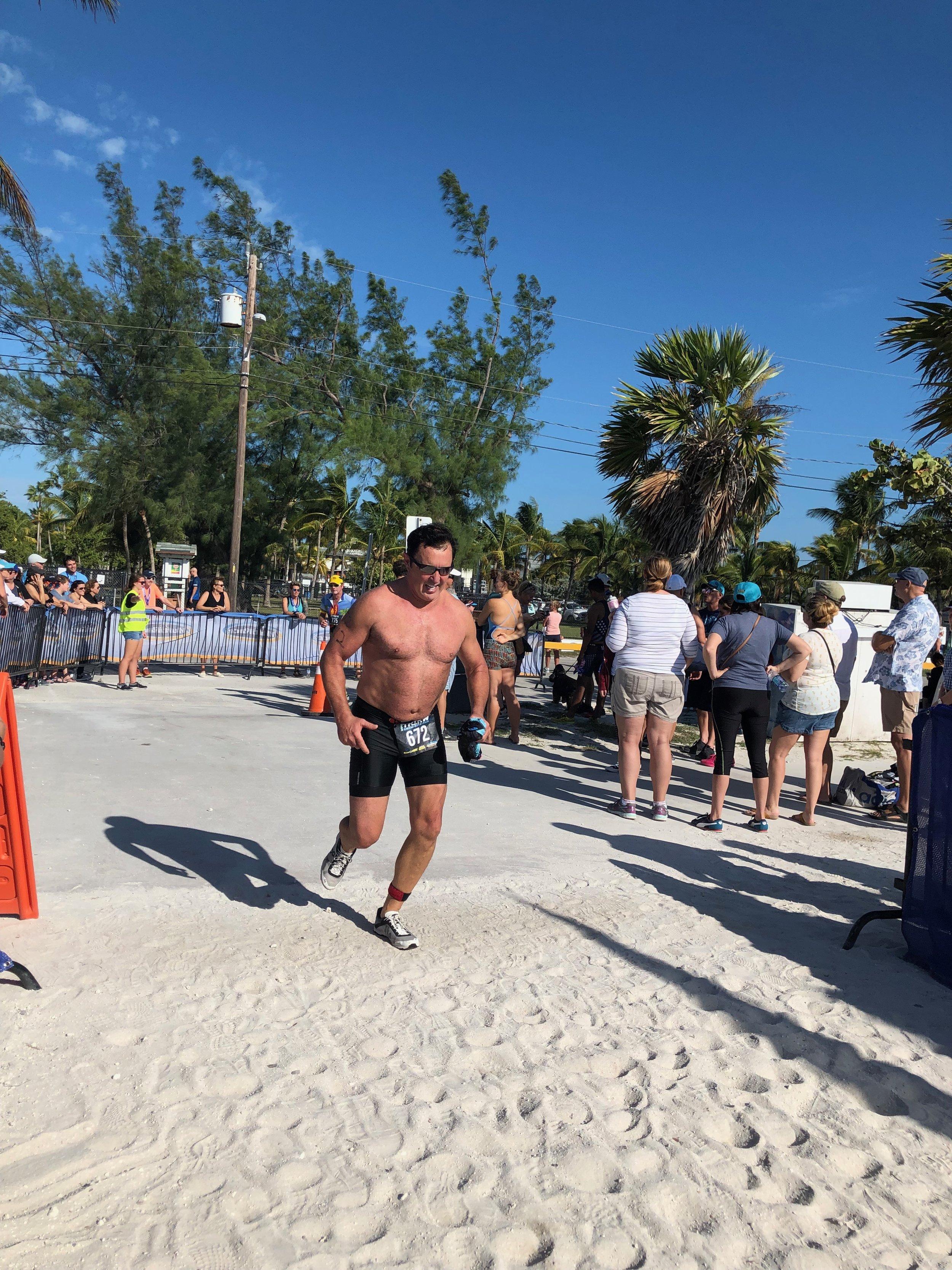 Howard participates in a 2018 triathlon in Key West, Florida