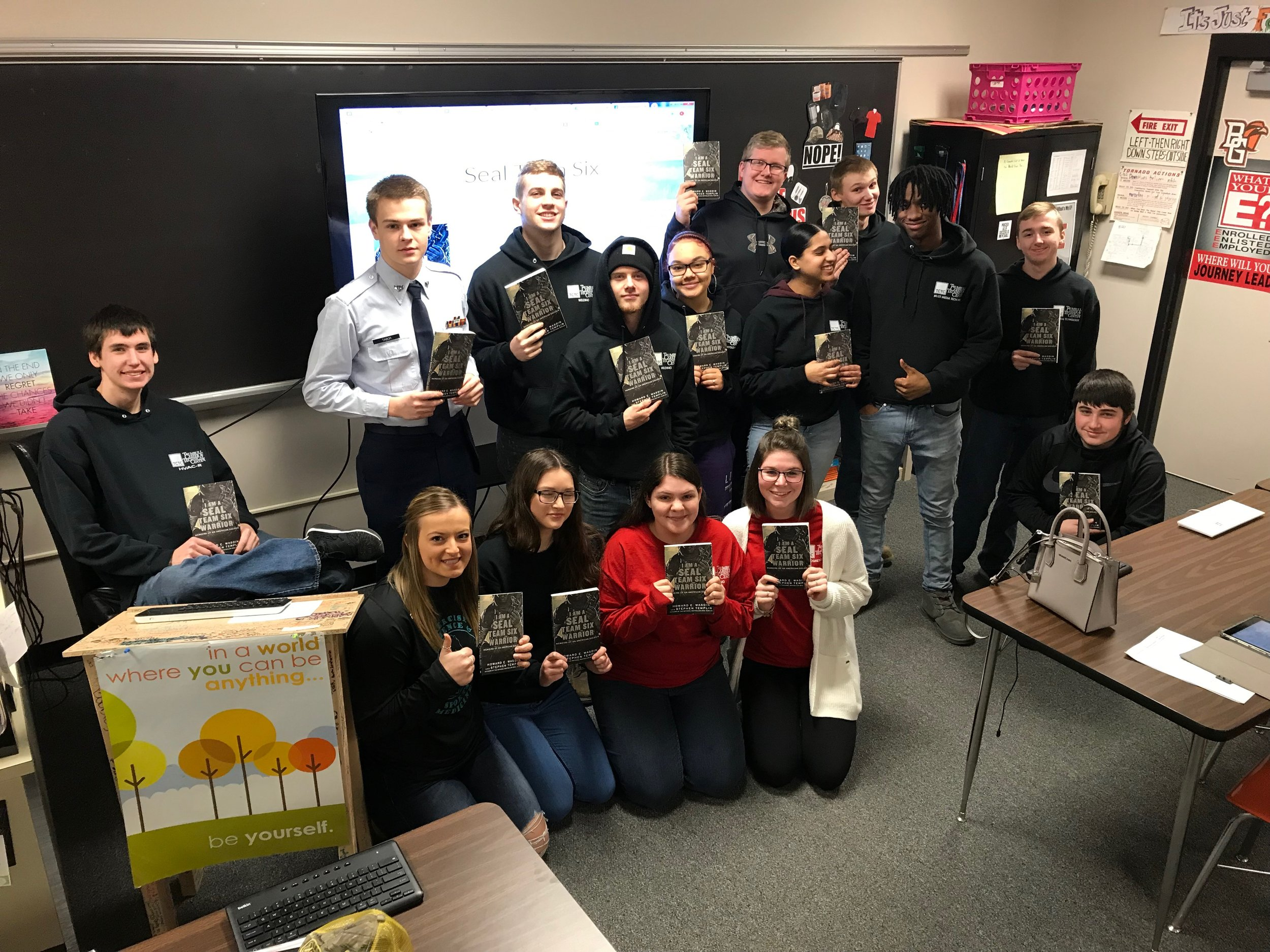 "Class from Trumbull Career and Technical Center finishes their annual reading of ""I am a SEAL Team Six Warrior.""  Great way to show their love of country!"