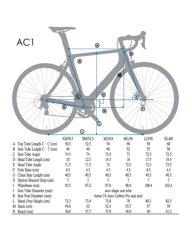 Frame Geometry - To get a good fit we recommend you compare your current bicycle frame geometry to the one shown for this bicycle. Variances of a few cm can make a big difference in how it fits. To get a perfect fit or if this is your first bicycle of this type a bike shop can be a big help in determining what dimensions fit your specific body.