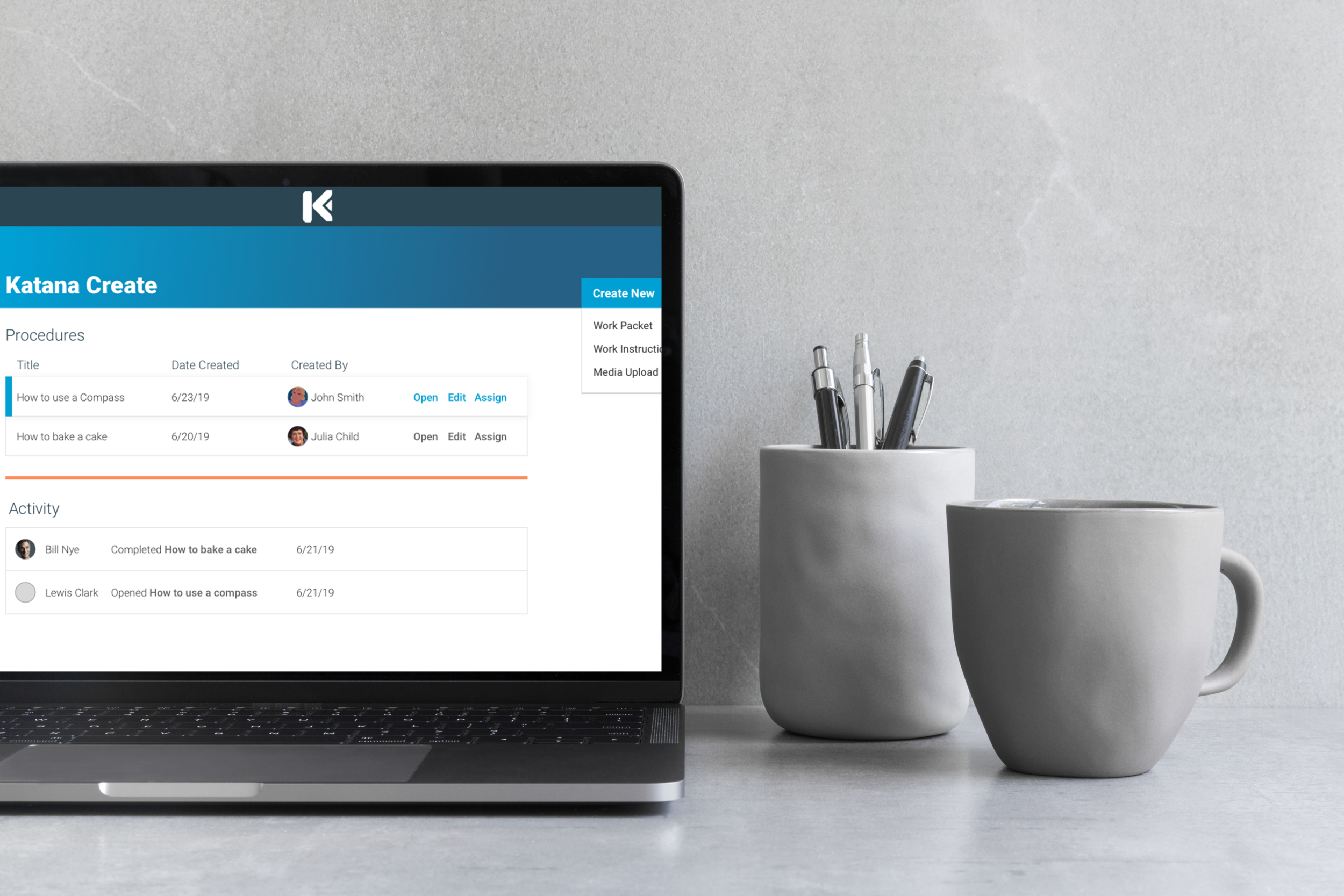 Katana Pro - Use the web app, Katana Pro, to create content, templates and assign work packages to users on mobile or headset.