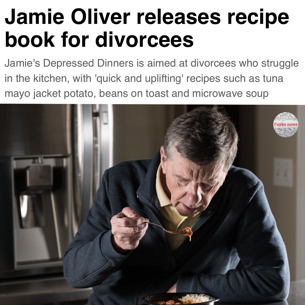 Jamie Oliver Divorcee Recipe Book Fake News Satire Meme