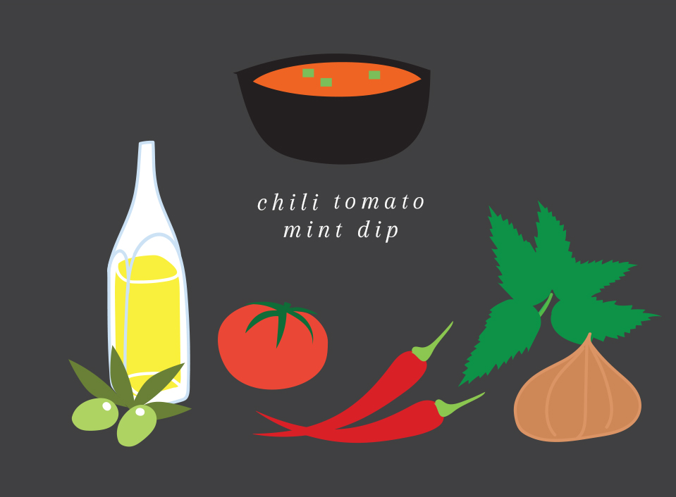 Chilitomato mint dip   Flavorfull dip with onion, garlic, chili & chipotle.