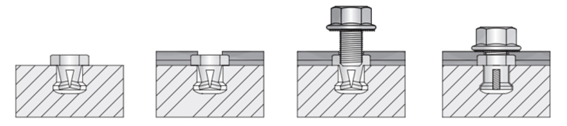 CG Anchoring System Undercut and fastener bolt schematics