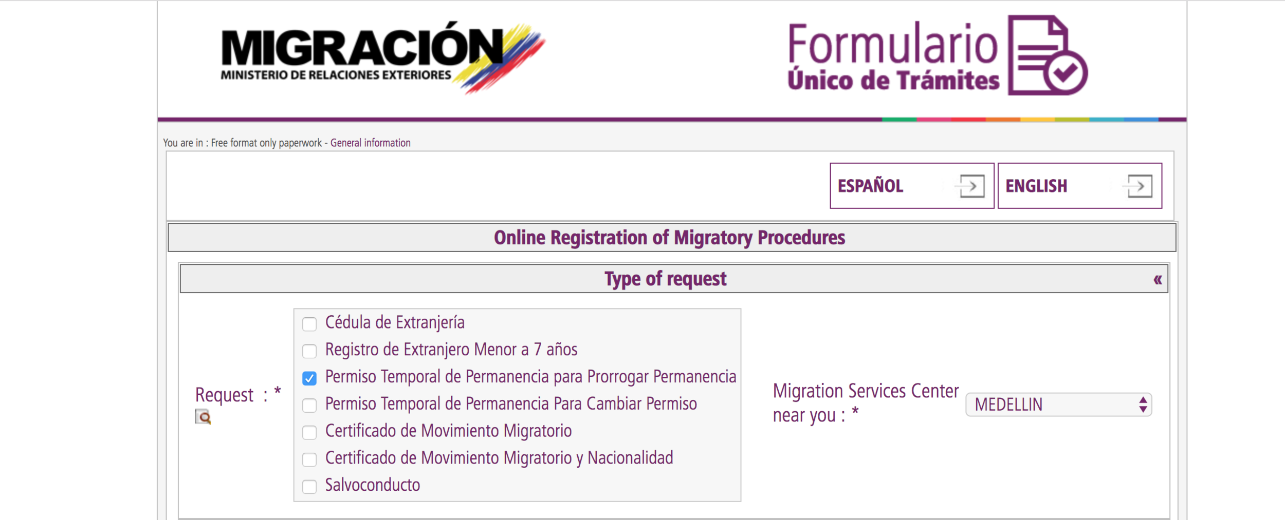 Image courtesy of the migración colombia website