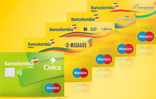Bancolombia's Debit Cards for transit in Barranquilla, Bogotá, Bucaramanga, Cali, Medellín, and Pereira. Image courtesy of Bancolombia