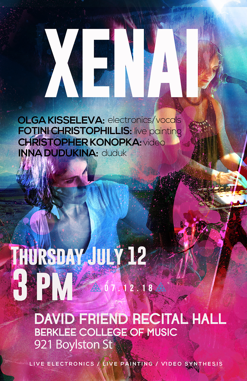 Thursday /July 12, 2018 /3pm - Xenai Trilogy - David Friend Recital Hall921 Boylston StreetBoston, MA, 02115, USevent link...